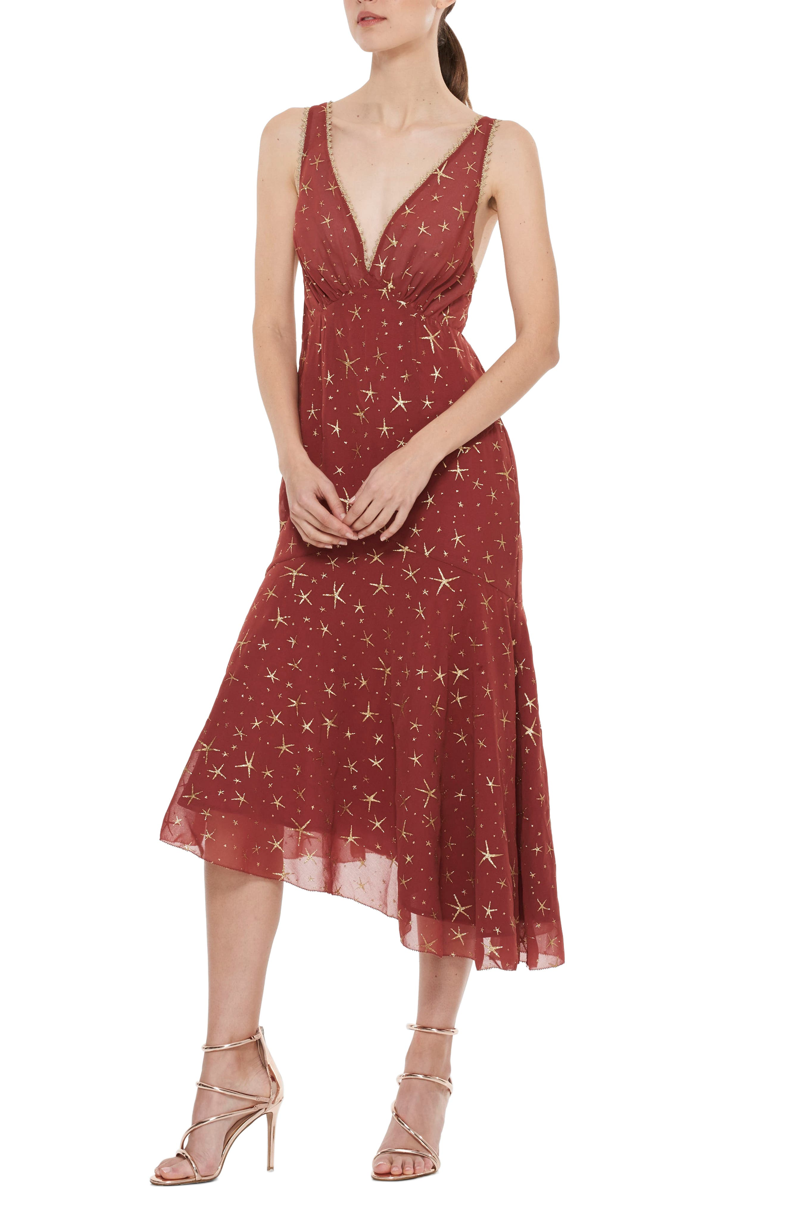 Stay Together Asymmetric Midi Dress,                             Main thumbnail 1, color,                             Wine And Gold