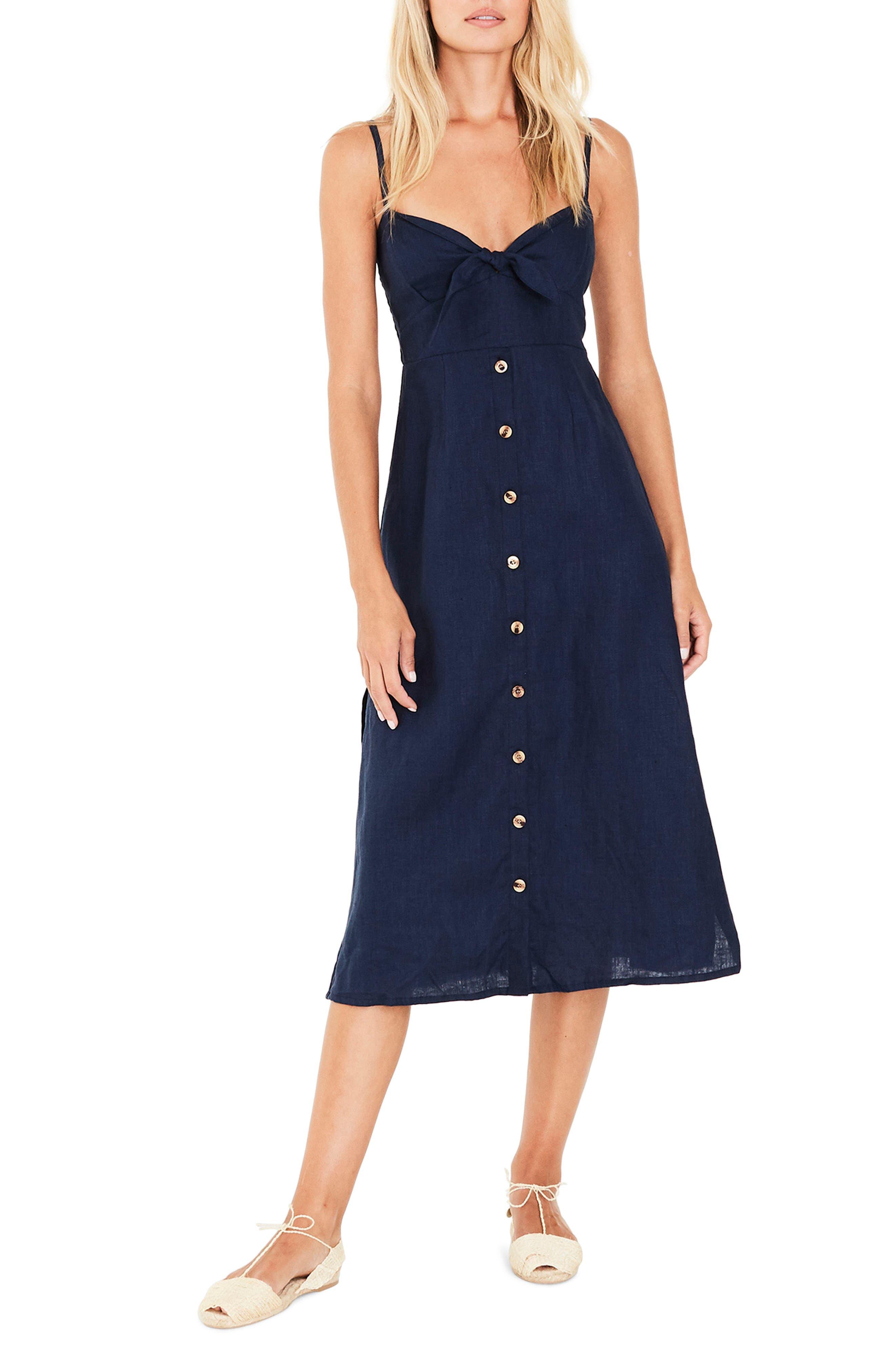 Knot Front Linen Midi Dress,                         Main,                         color, Plain Vintage Blue Linen
