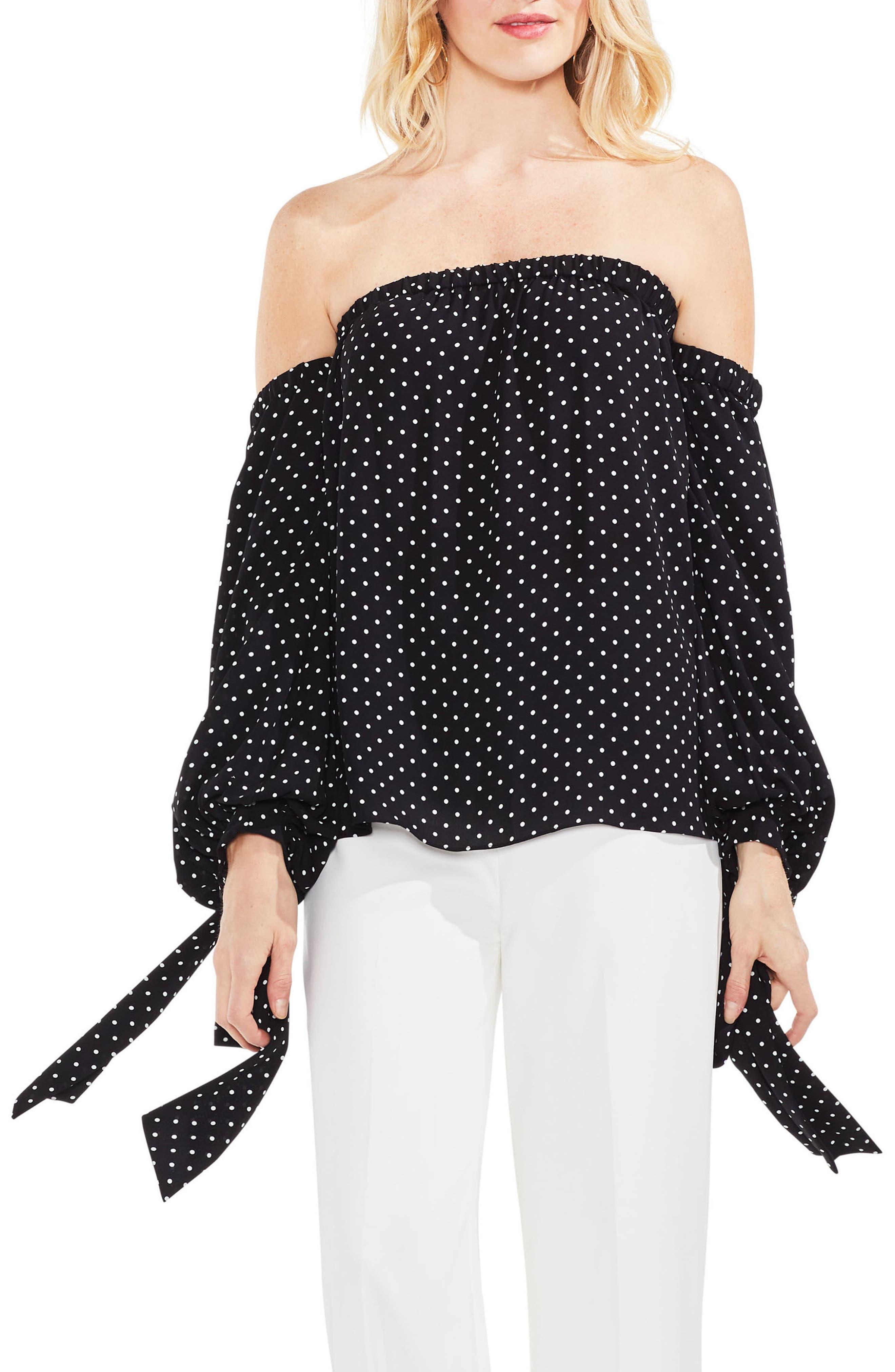 Poetic Dots Off the Shoulder Blouse,                         Main,                         color, Rich Black