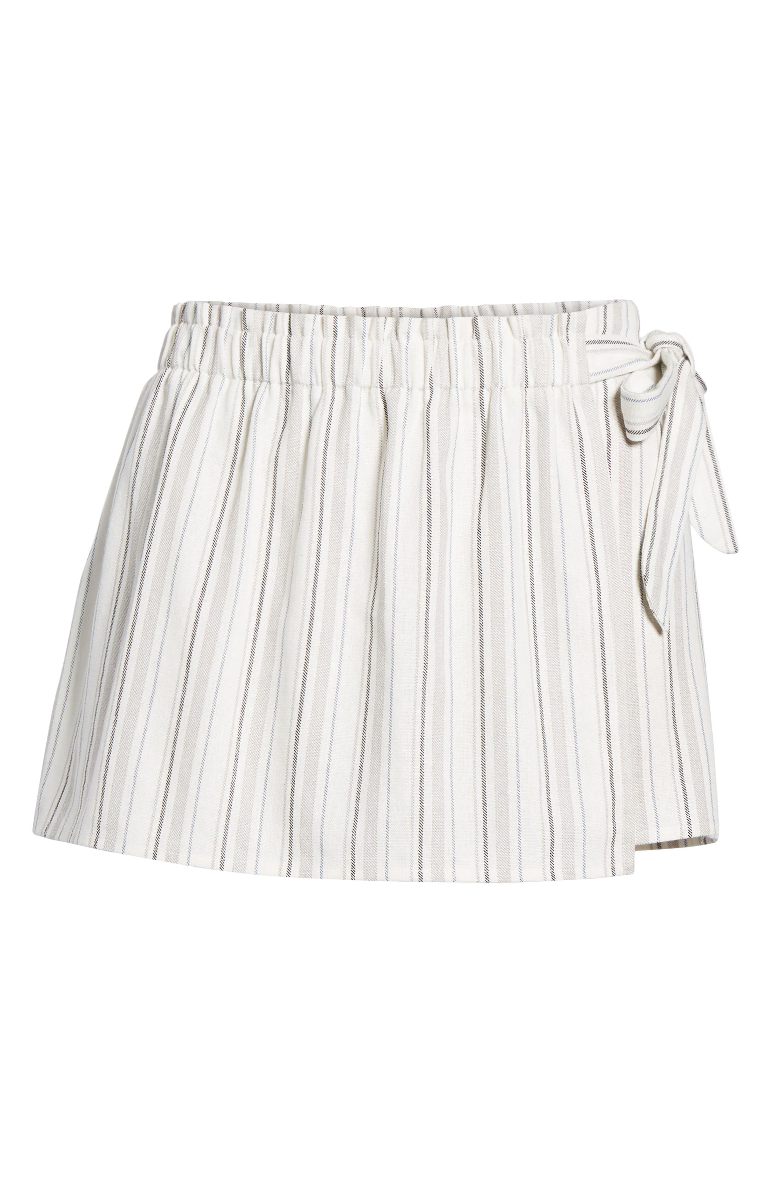Side Tie Stripe Skort,                             Alternate thumbnail 6, color,                             Natural/ Black Linen Stripe