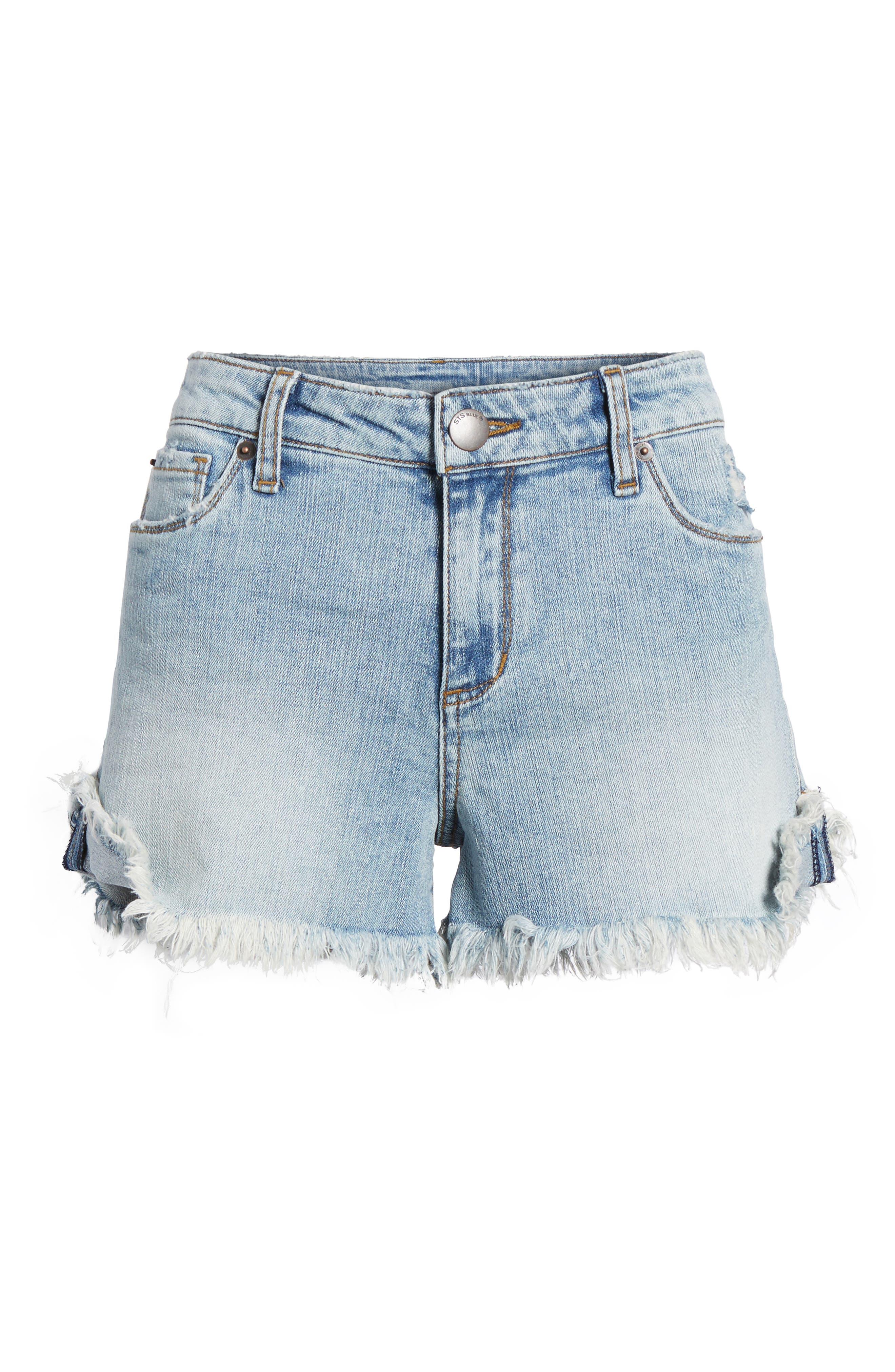 Fray Hem Denim Boyfriend Shorts,                             Alternate thumbnail 6, color,                             Oakrim