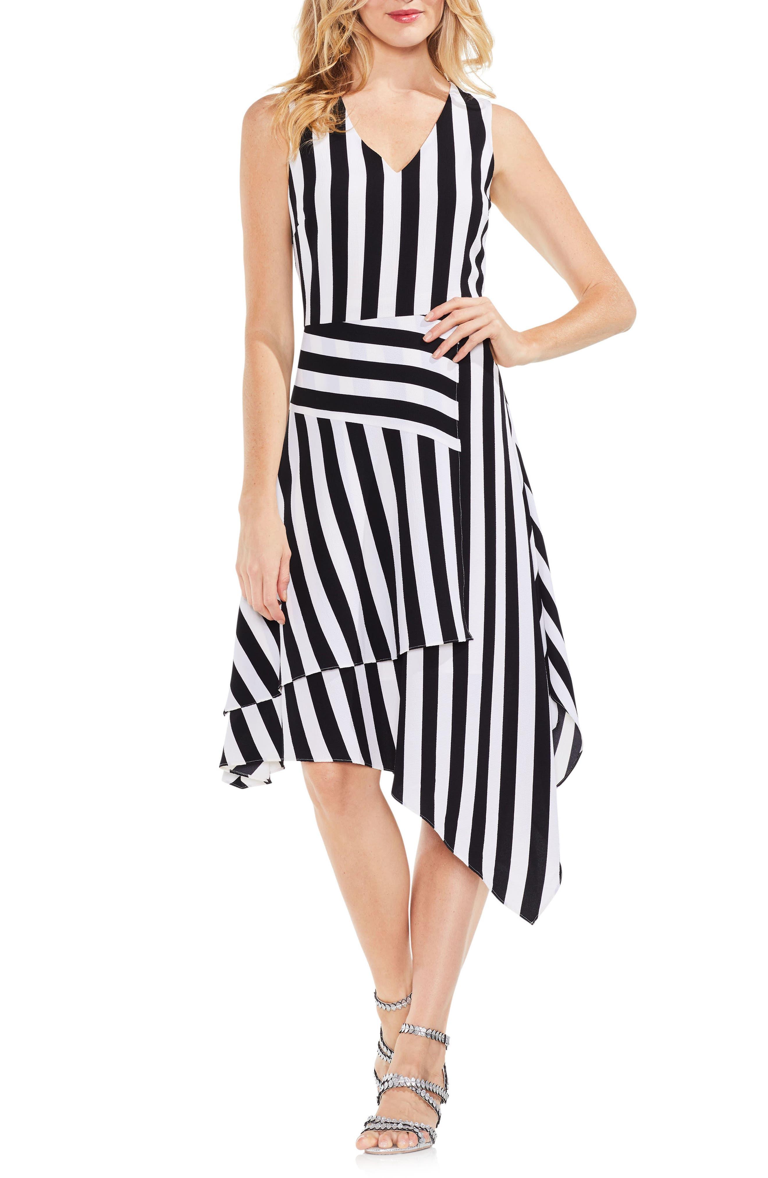 Spectator Stripe Asymmetrical Hem Dress,                         Main,                         color, Rich Black
