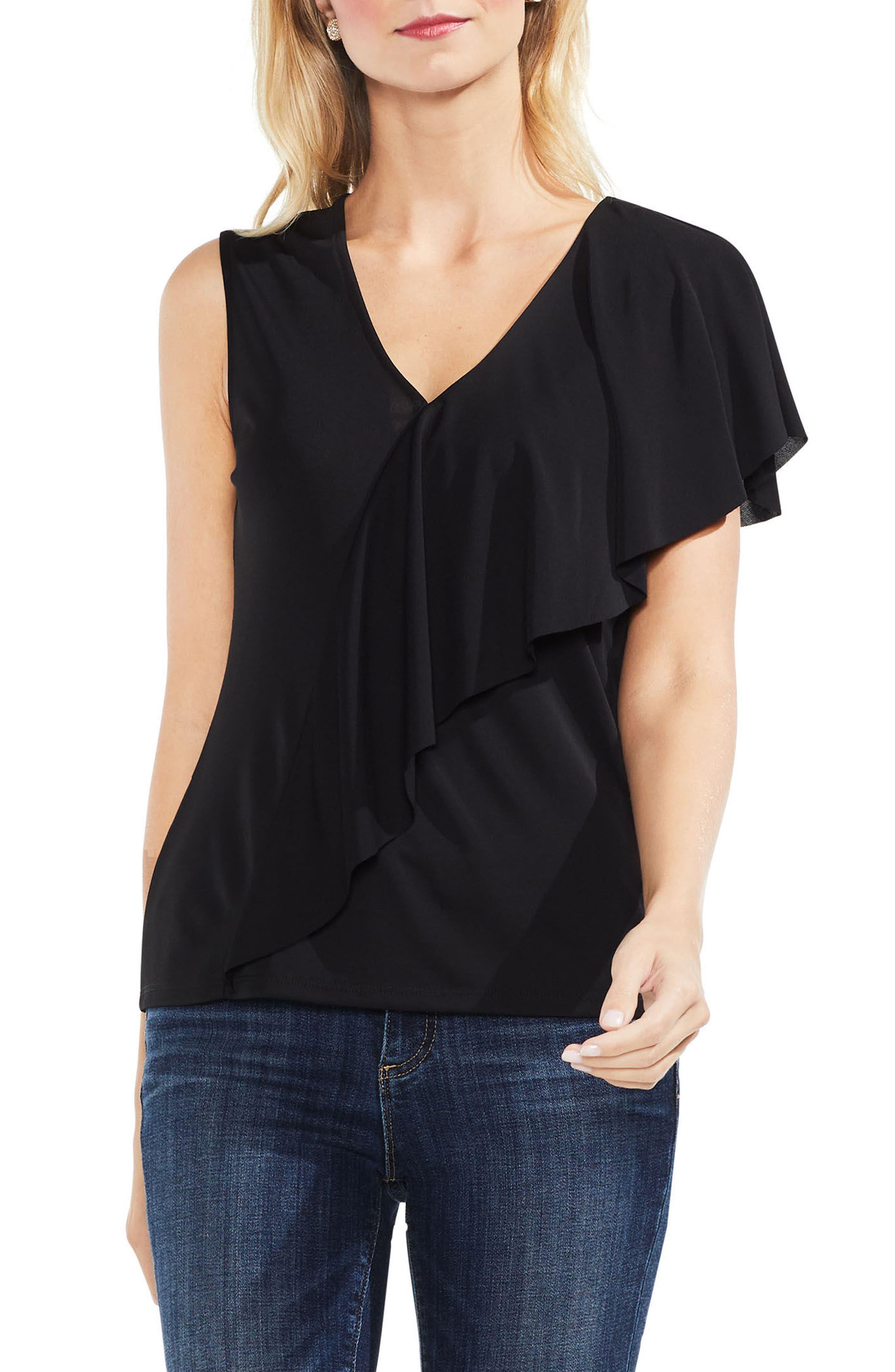 Asymmetrical Ruffle V-Neck Top,                         Main,                         color, Rich Black