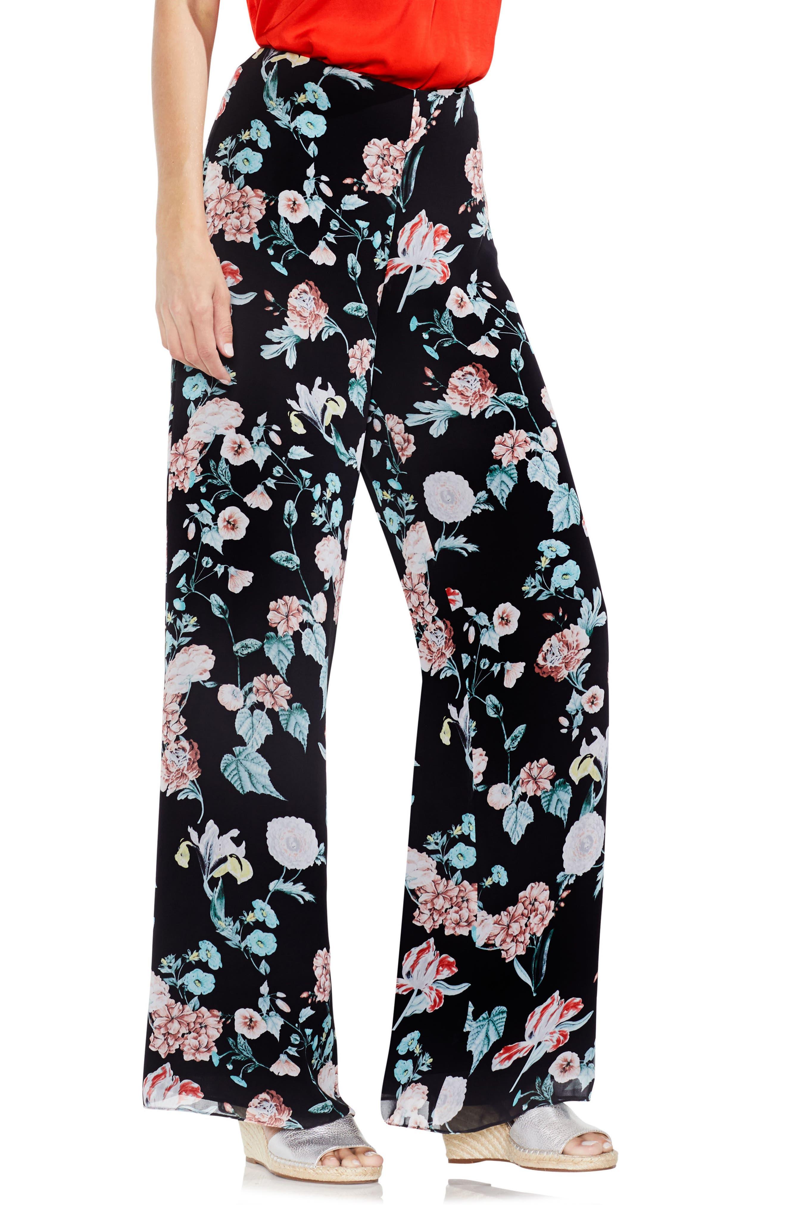 Floral Gardens Wide Leg Pants,                             Main thumbnail 1, color,                             Rich Black