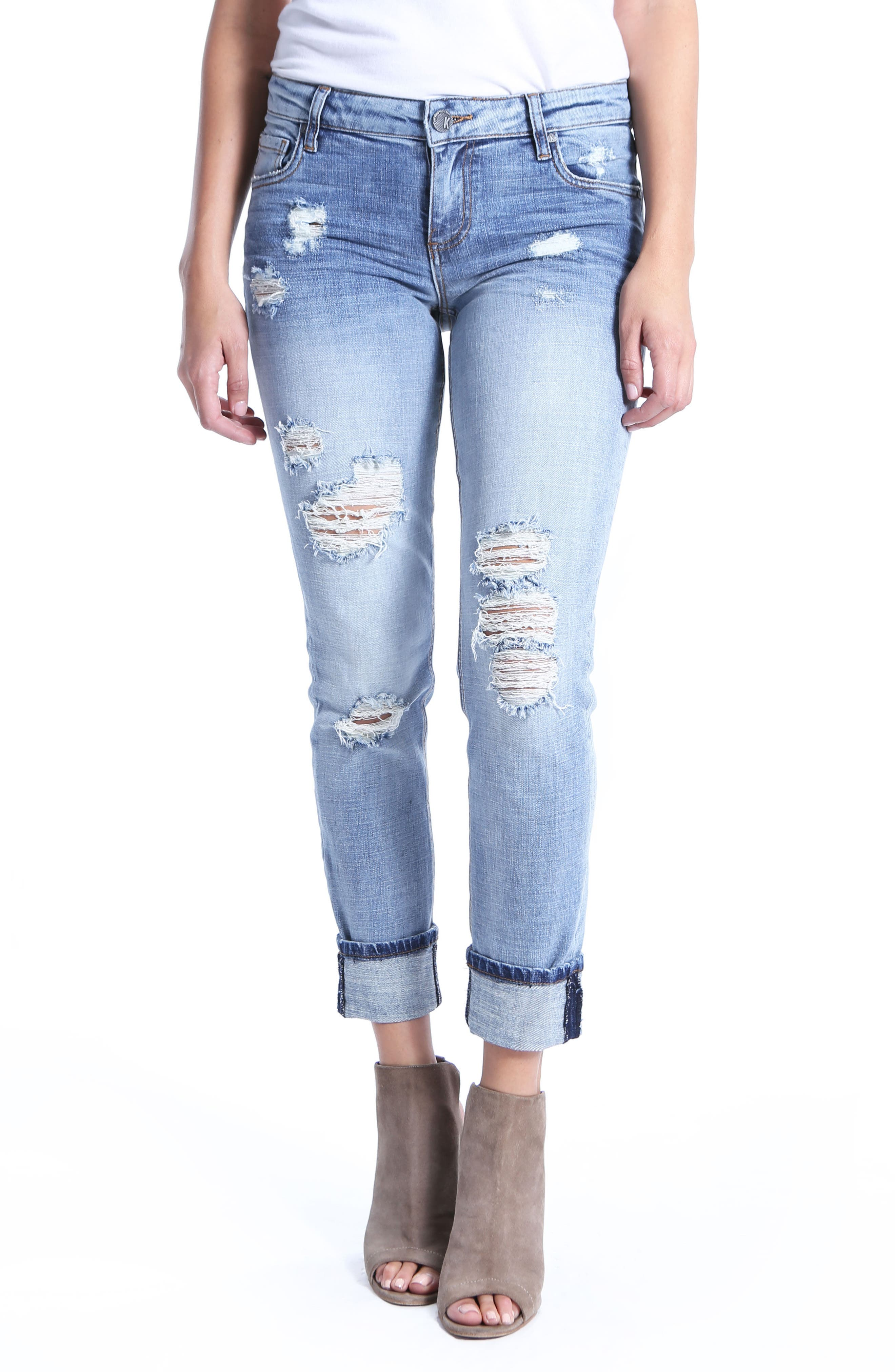 KUT from the Kloth Catherine Ripped Boyfriend Jeans (Characterized)