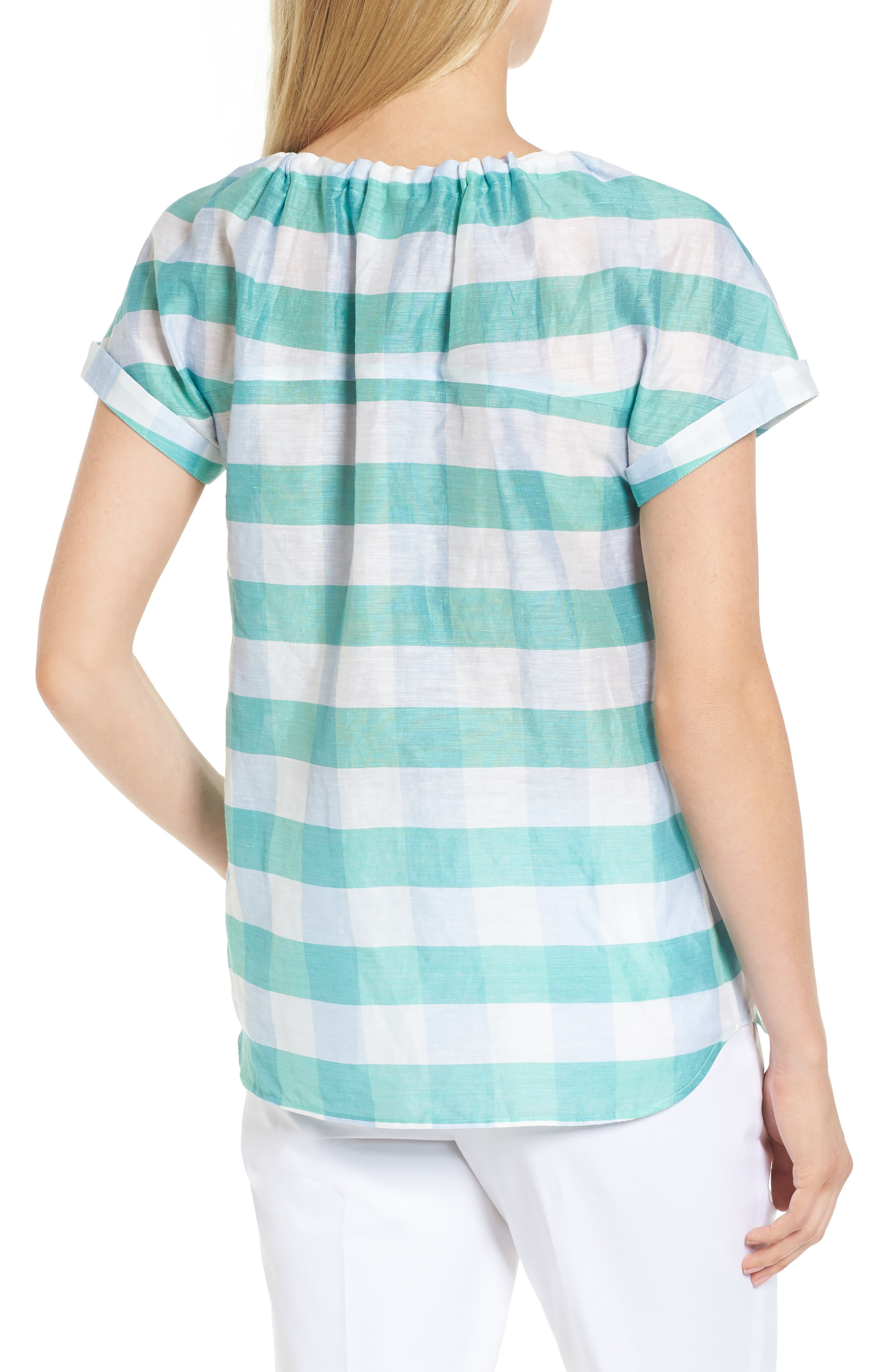 Tie Neck Check Top,                             Alternate thumbnail 2, color,                             Green- Blue Feather Check