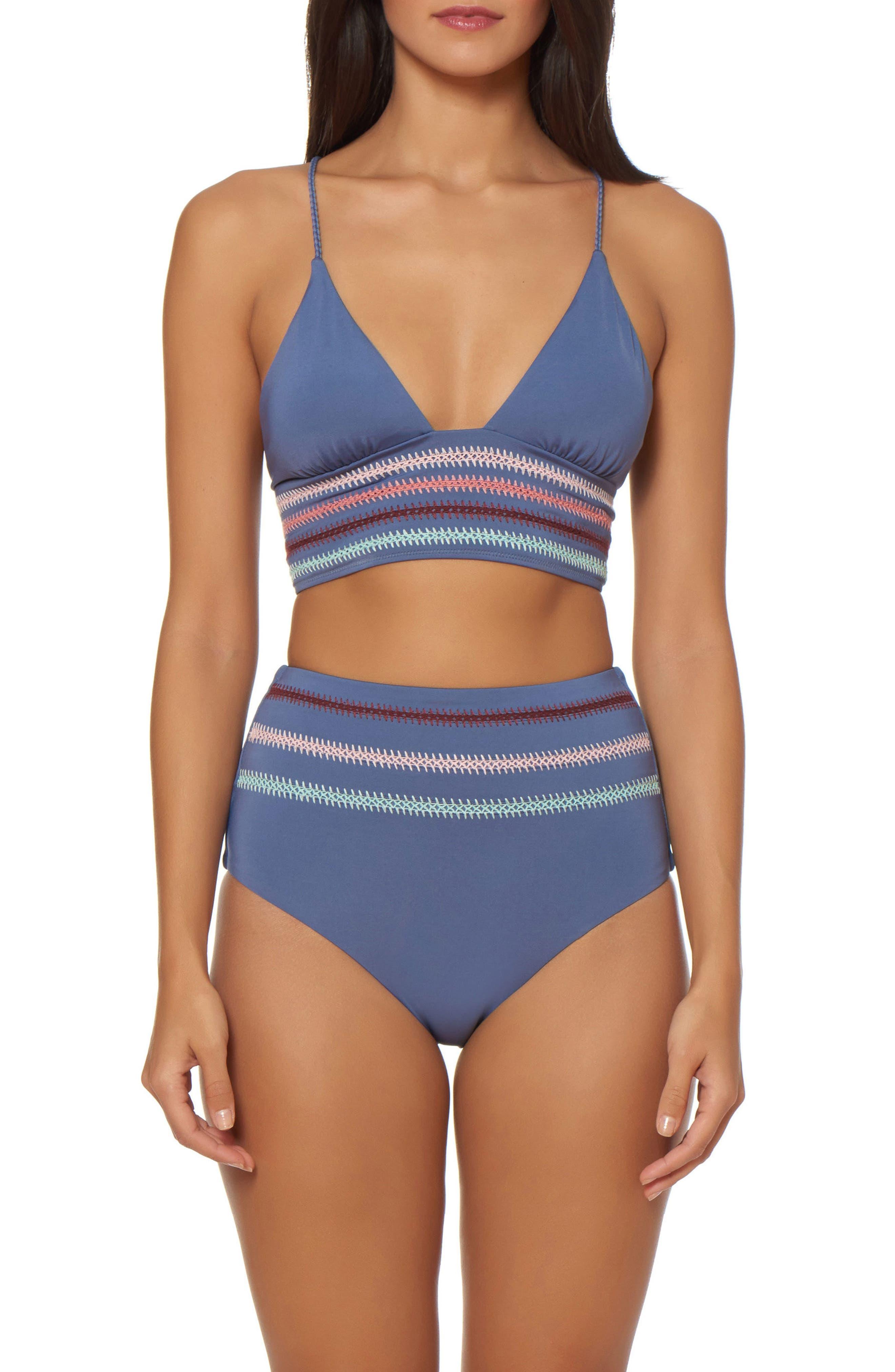 Embroidery Long Line Bikini Top,                             Alternate thumbnail 3, color,                             Pigeon