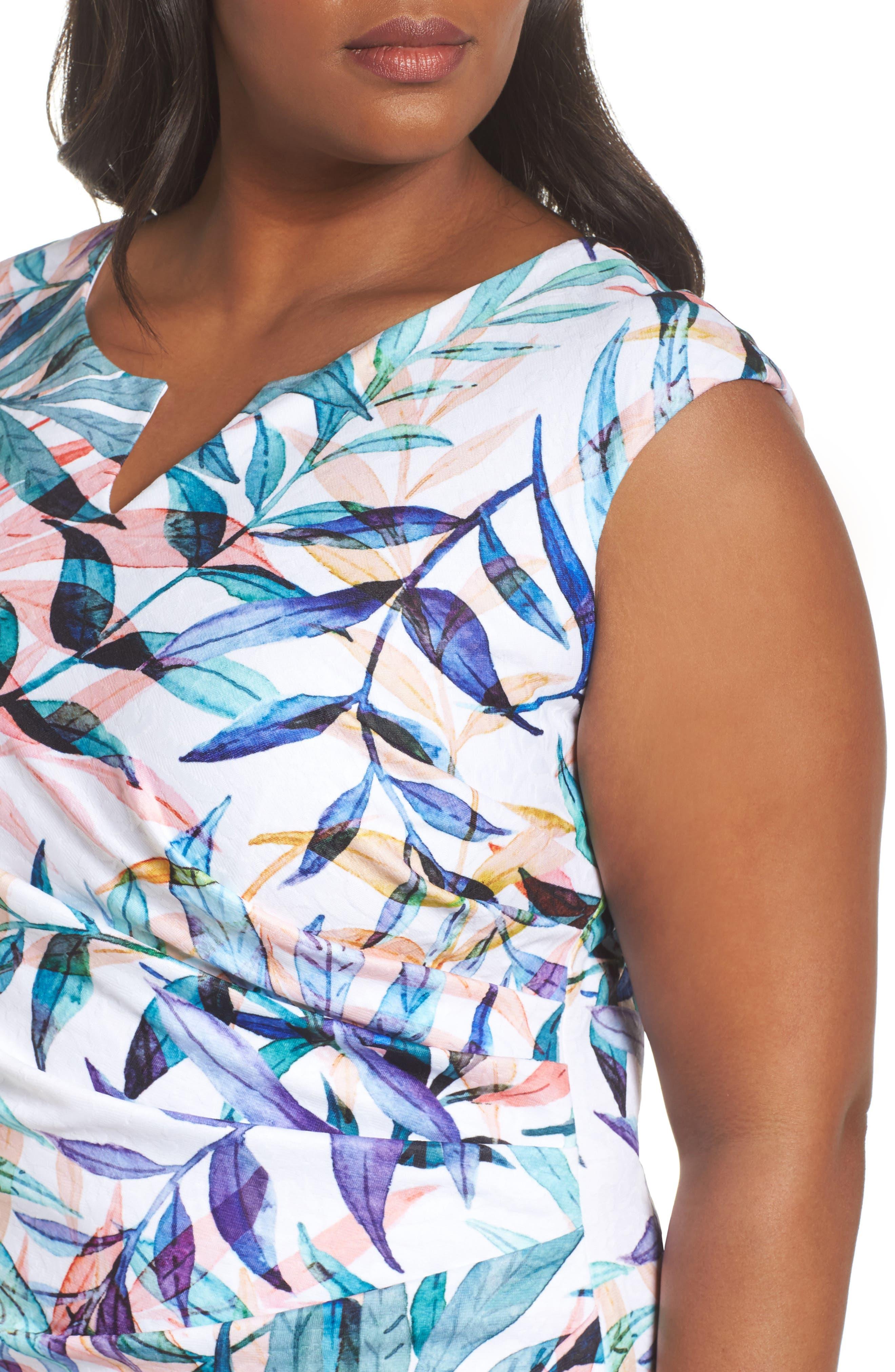 Watercolor Leaves Sheath Dress,                             Alternate thumbnail 4, color,                             Ivory Multi