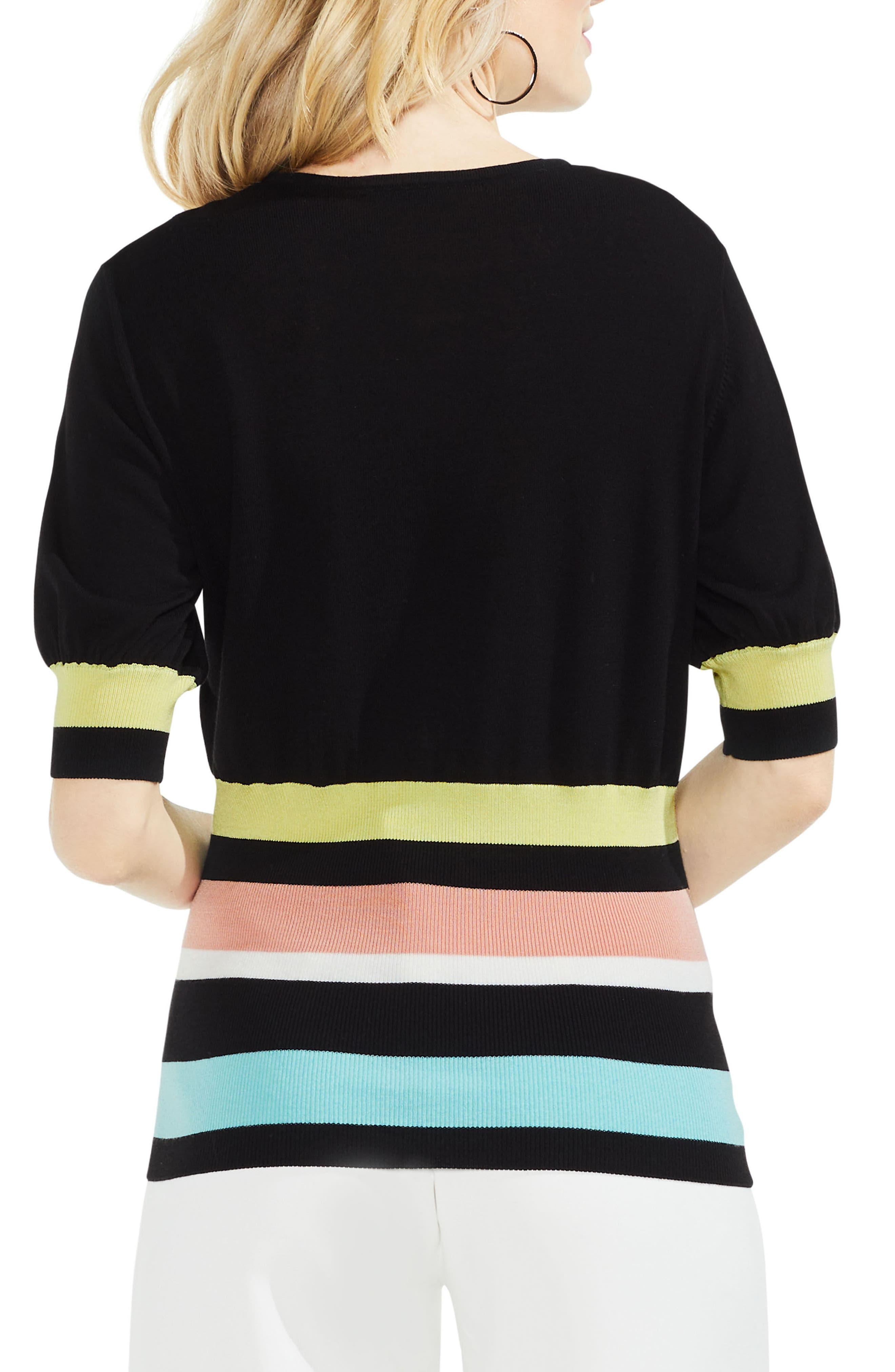 Elbow Bubble Sleeve Colorblock Sweater,                             Alternate thumbnail 2, color,                             Rich Black