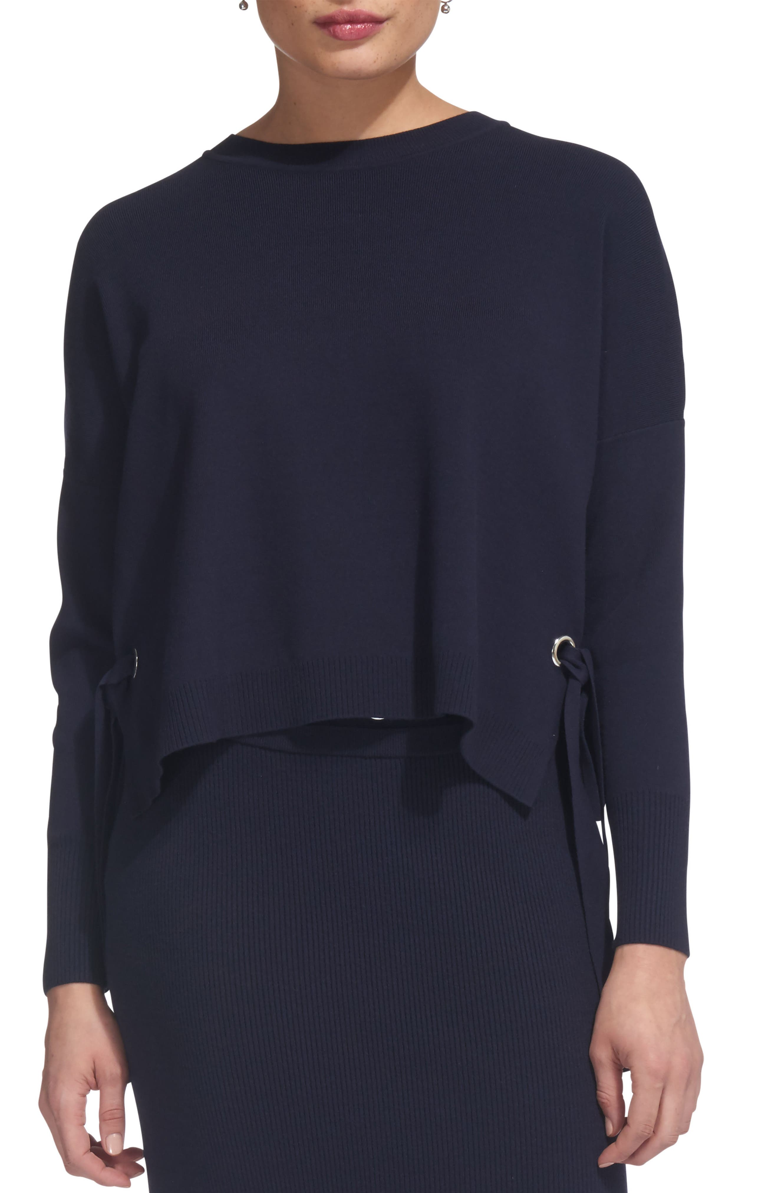 Tie Side Sweater,                         Main,                         color, Navy