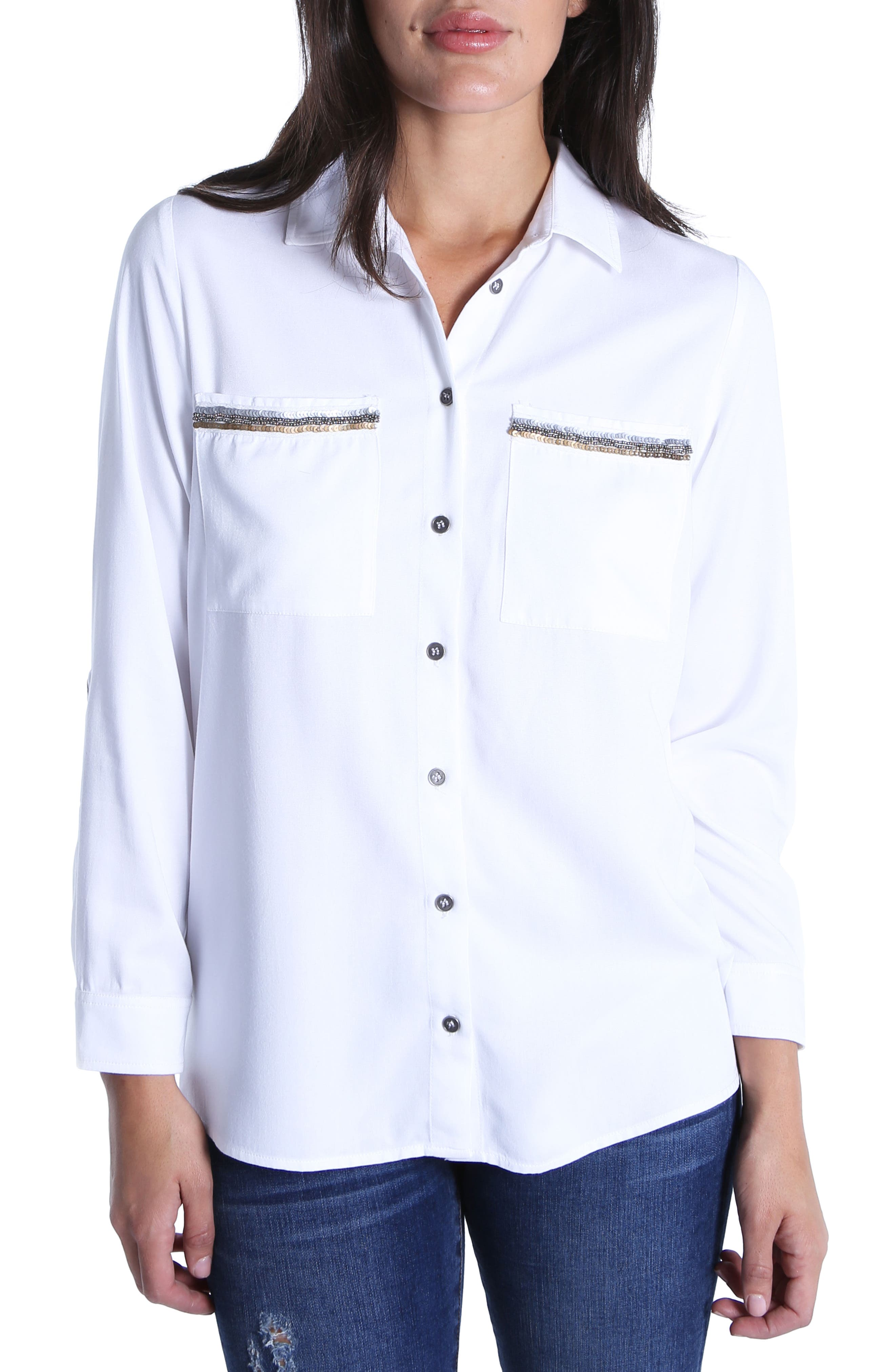 Danny Sequin Pocket Shirt,                         Main,                         color, White