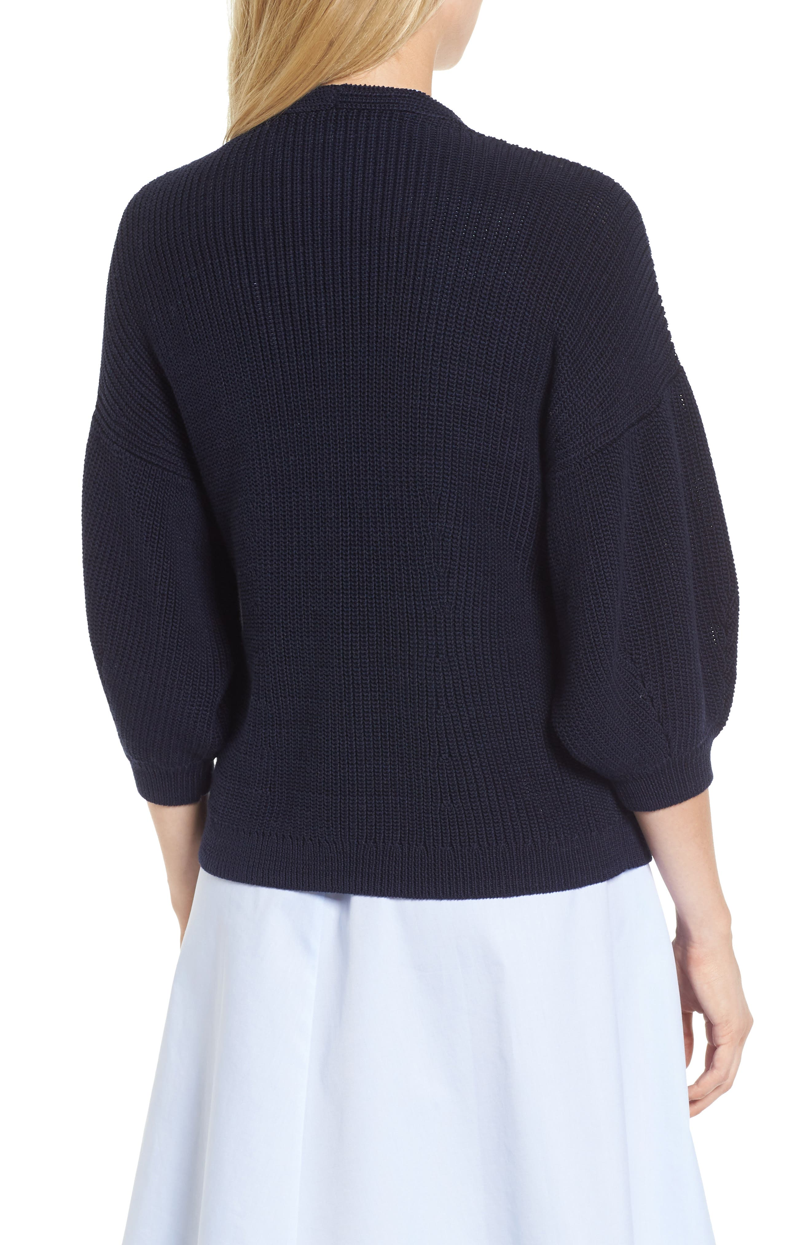 V-Neck Cotton Cardigan,                             Alternate thumbnail 2, color,                             Navy Night