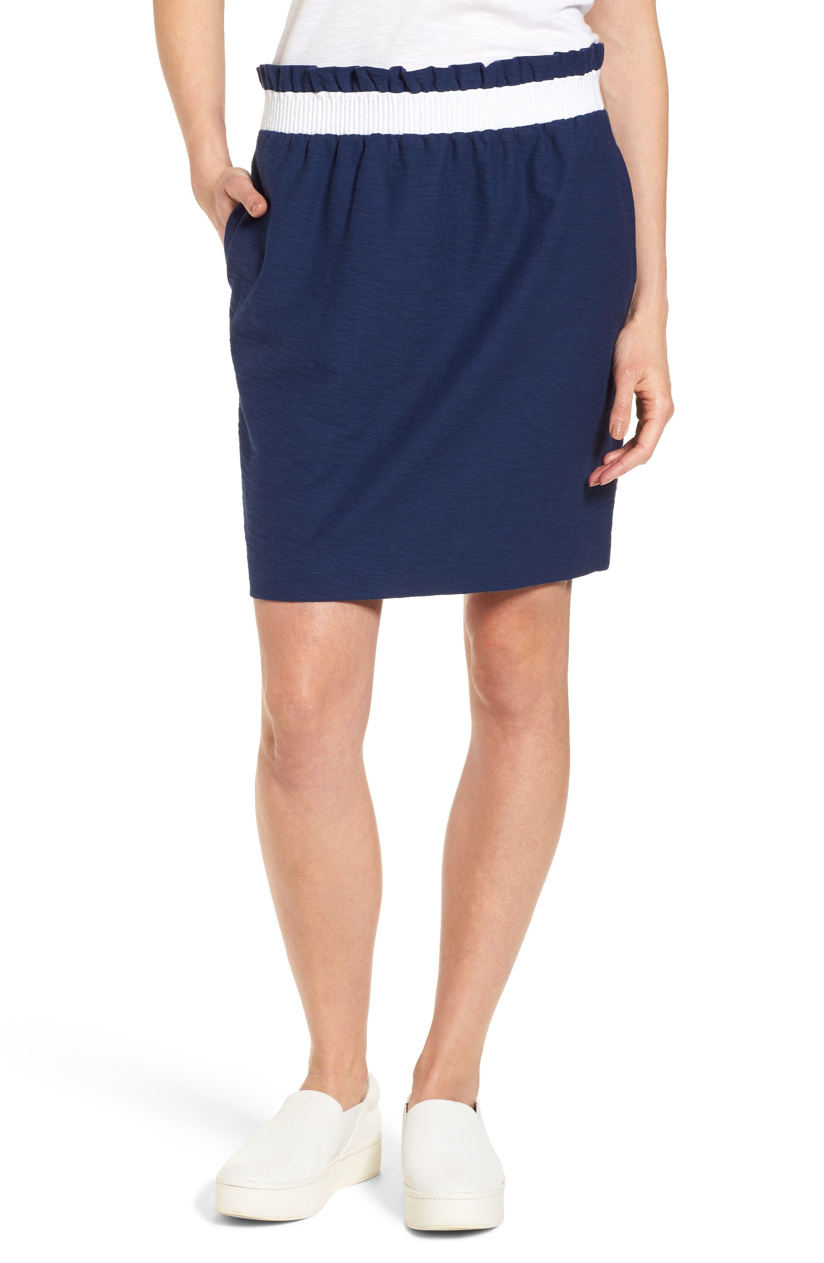 Waistband Stripe Pull On Skirt,                         Main,                         color, Deep Bay
