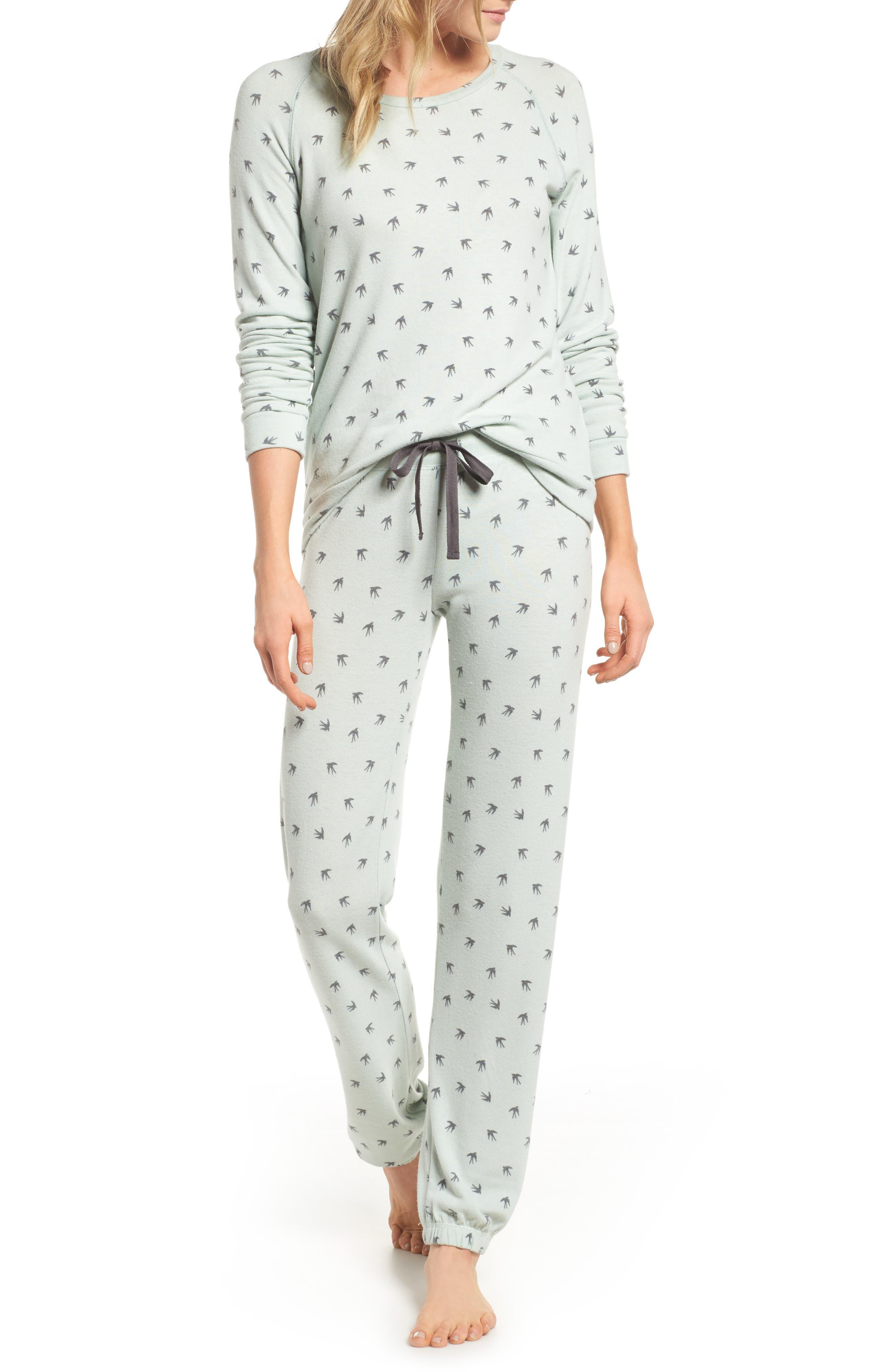 Peachy Pajama Top,                             Alternate thumbnail 5, color,                             Seafoam