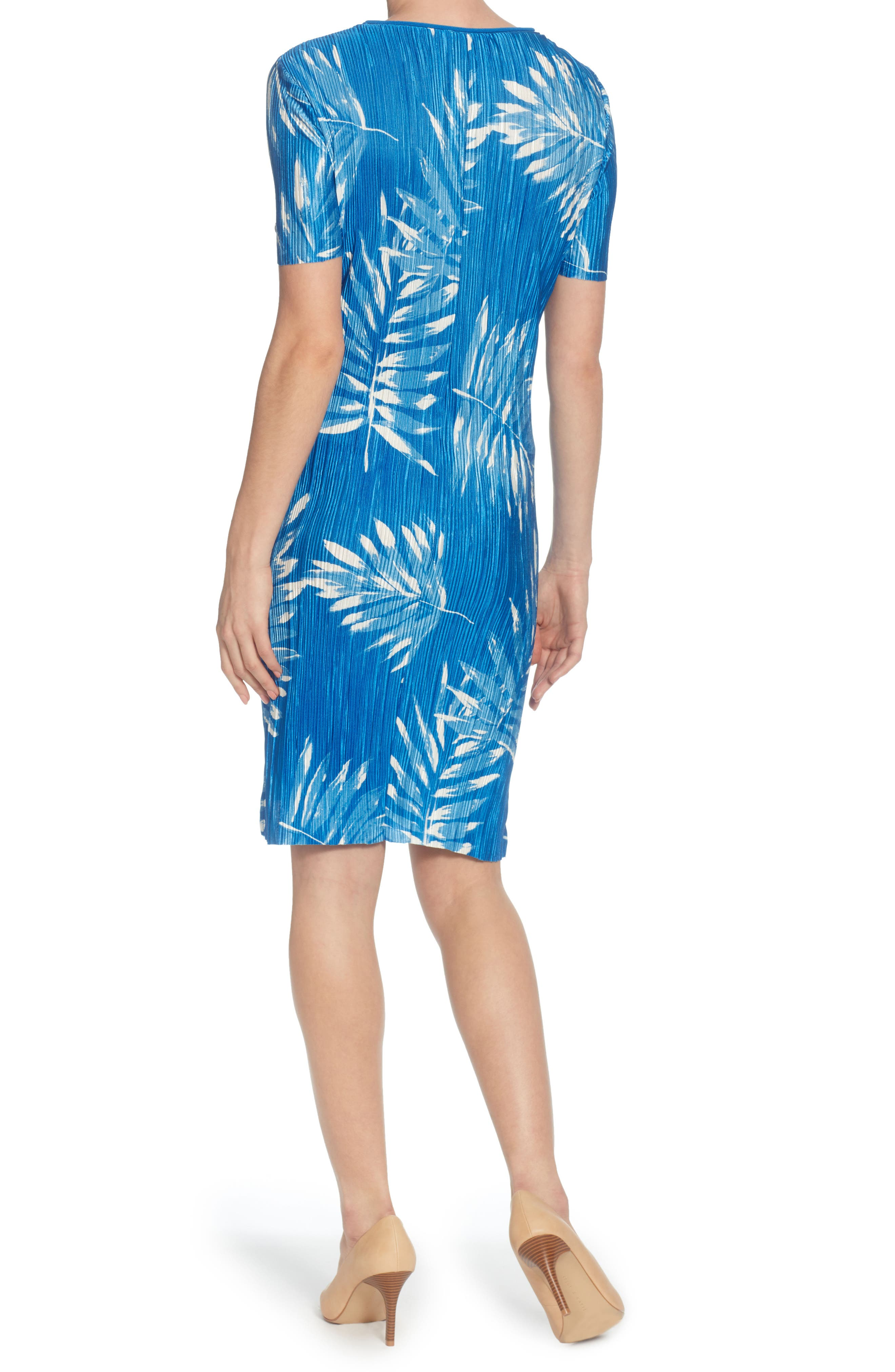 Dina Micropleat Dress,                             Alternate thumbnail 2, color,                             Victoria Palms