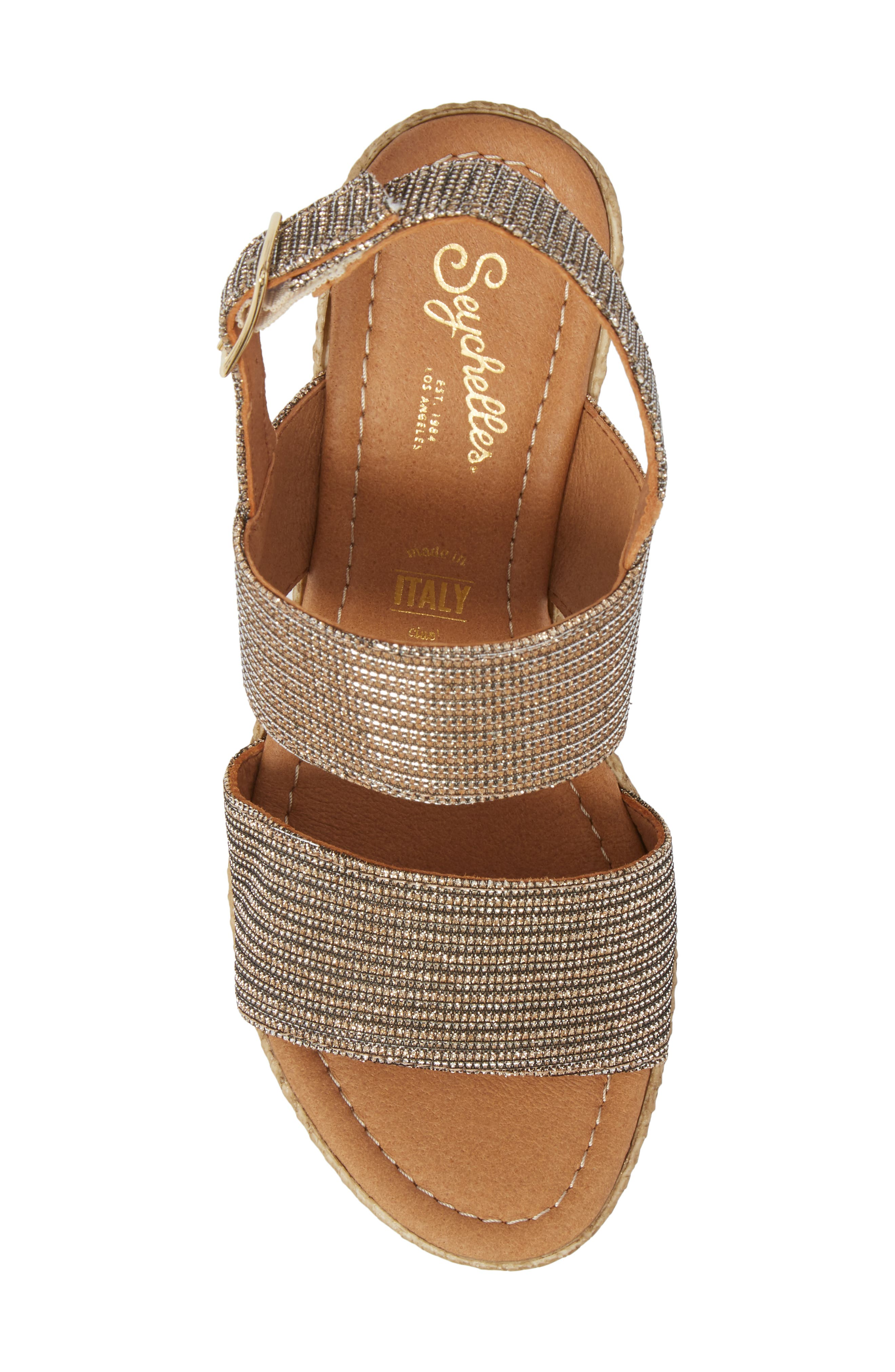 Downtime Wedge Sandal,                             Alternate thumbnail 5, color,                             Bronze Metallic Fabric