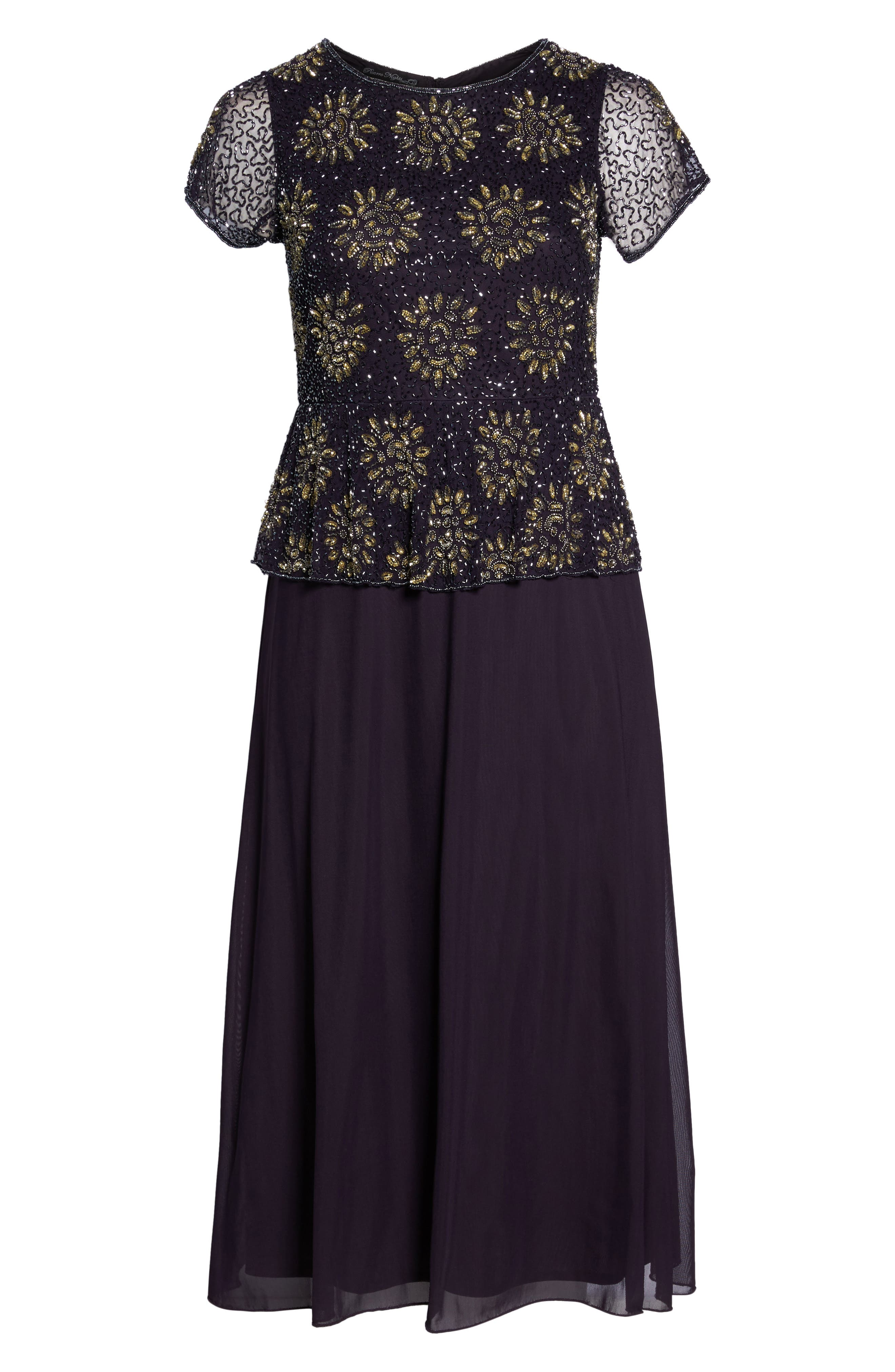 Embellished Mock Two-Piece Gown,                             Alternate thumbnail 6, color,                             Eggplant