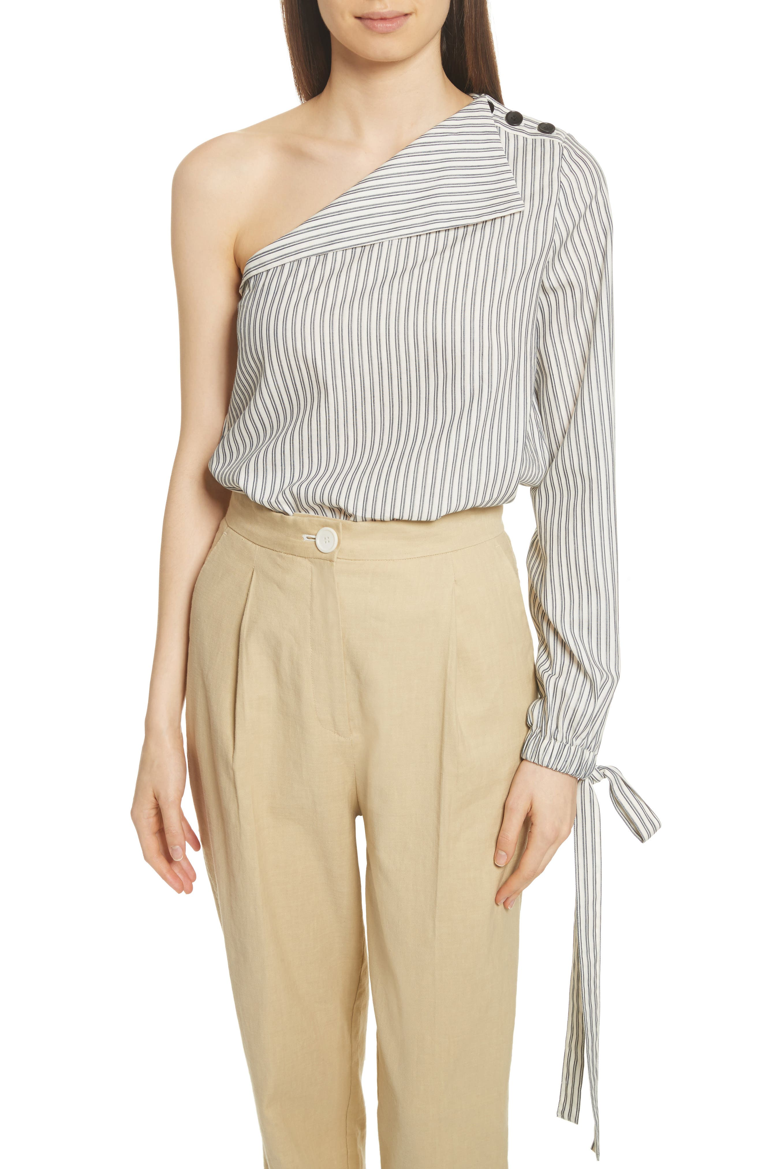 Stripe Tie Cuff One-Shoulder Top,                         Main,                         color, Blue/ Ivory Stripe