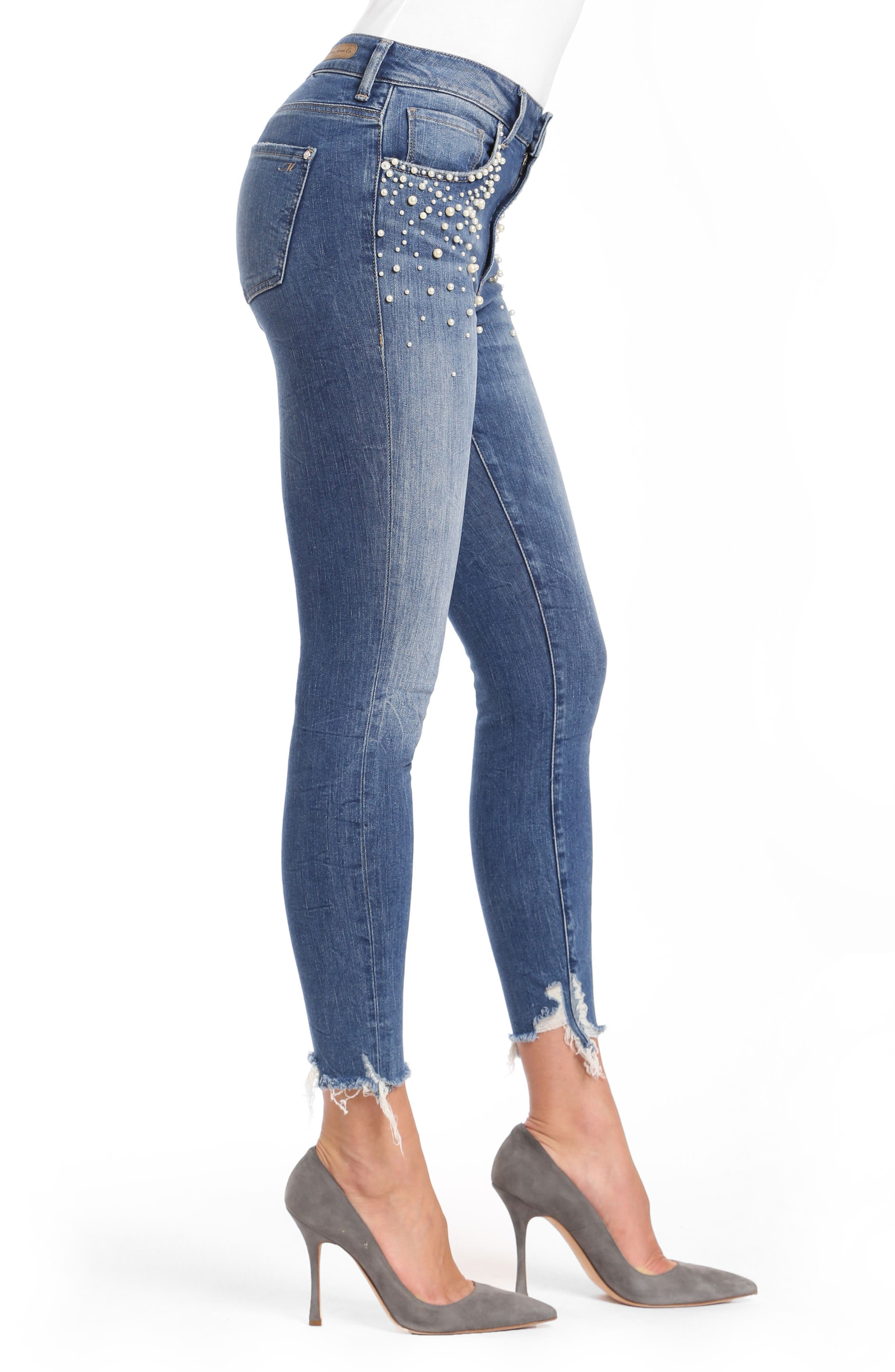 Tess Faux Pearl Skinny Jeans,                             Alternate thumbnail 3, color,                             Indigo Pearl