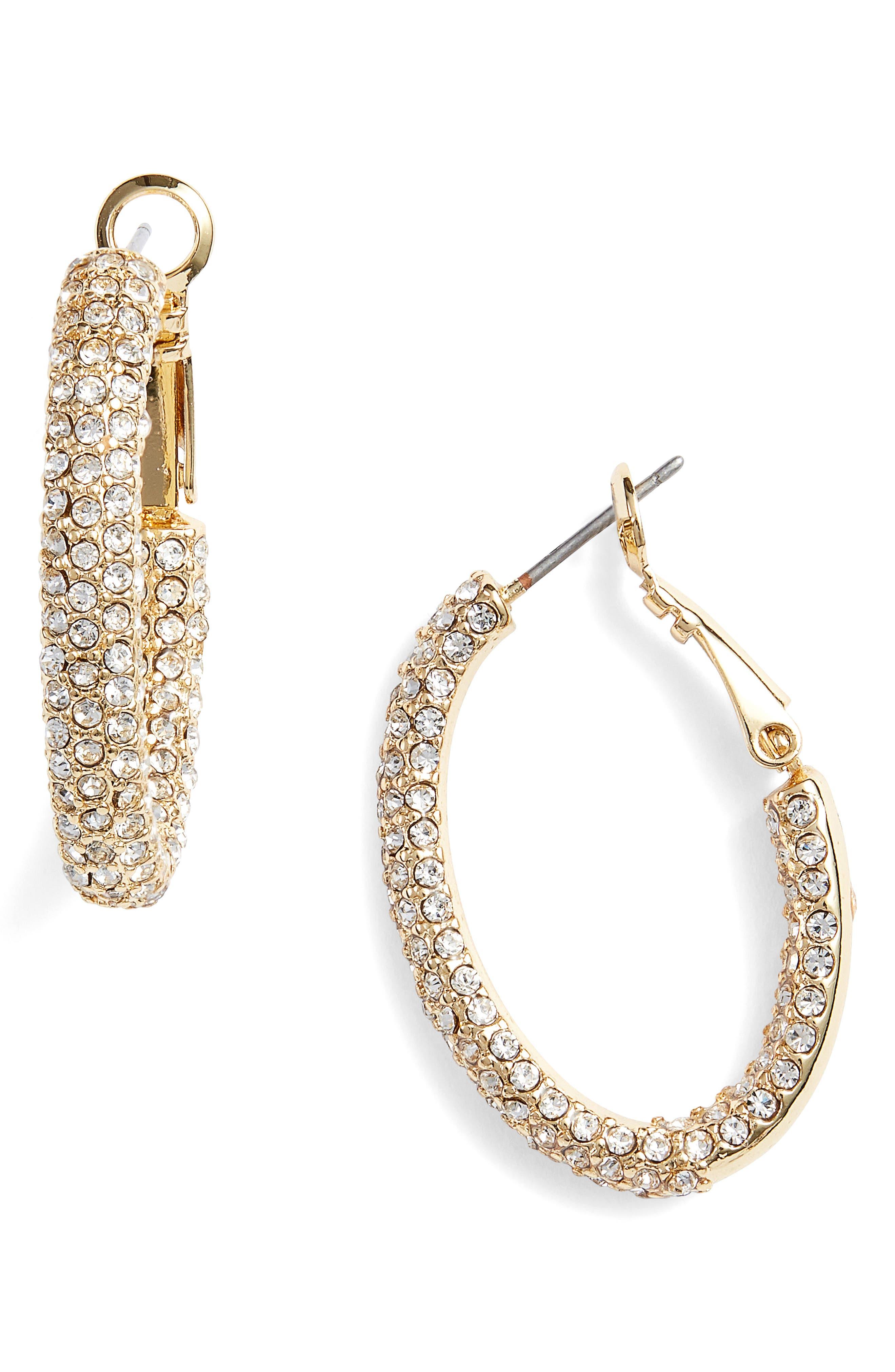 Vince Camuto Pavé Oval Hoop Earrings