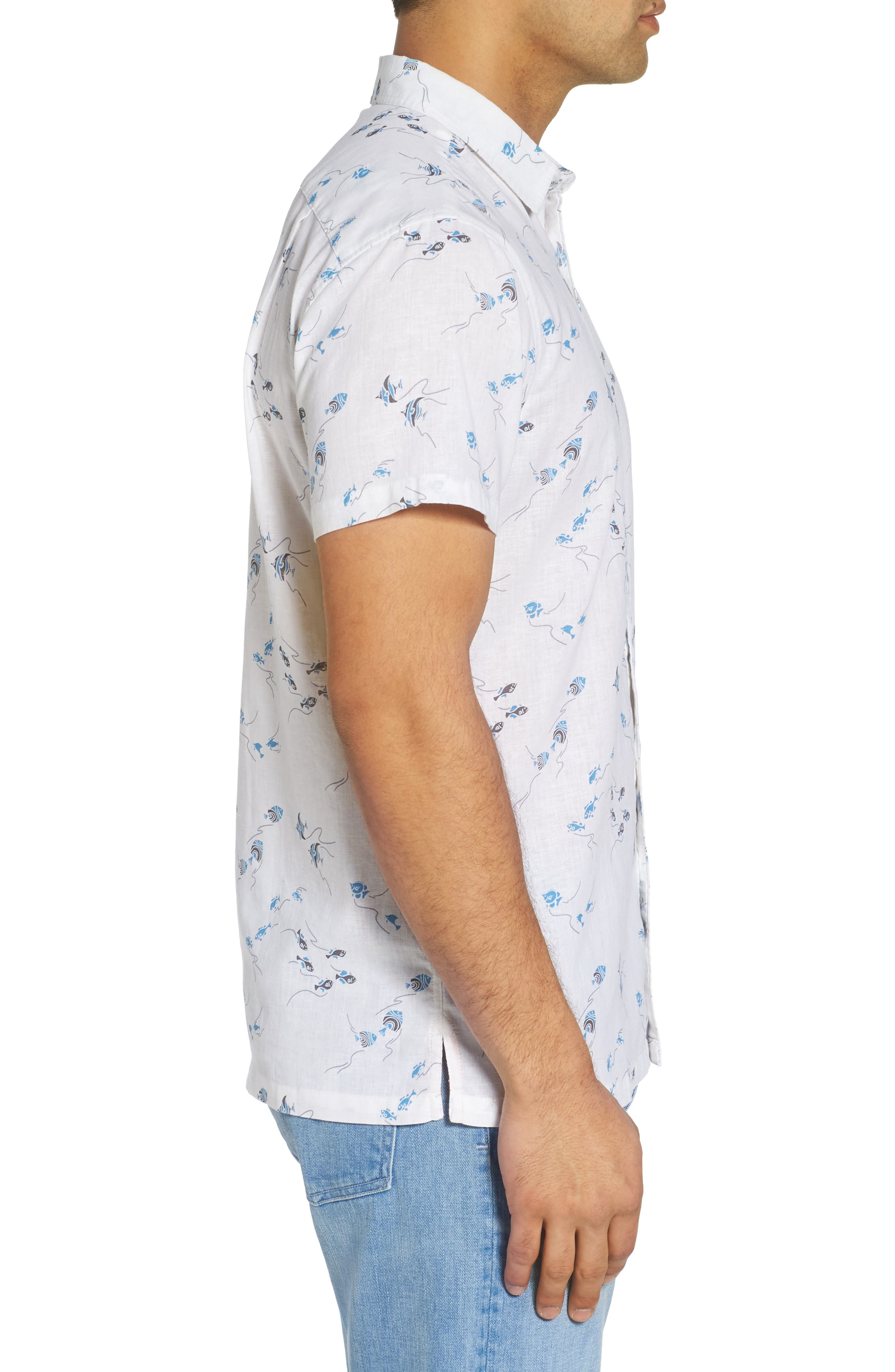 Swim School Standard Fit Linen Blend Camp Shirt,                             Alternate thumbnail 3, color,                             White