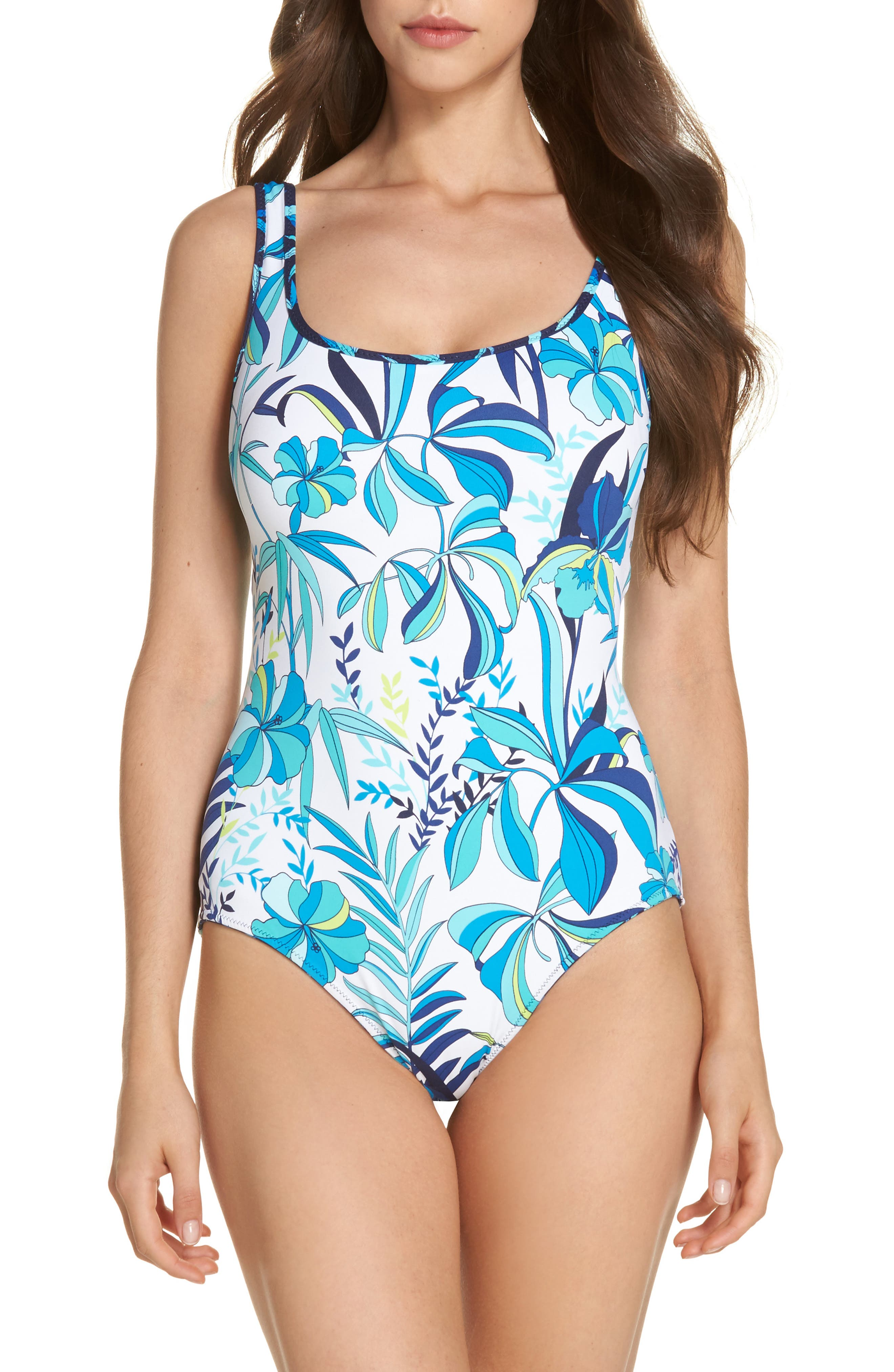 Tropical Swirl Reversible One-Piece Swimsuit,                             Alternate thumbnail 2, color,                             Blue/ White