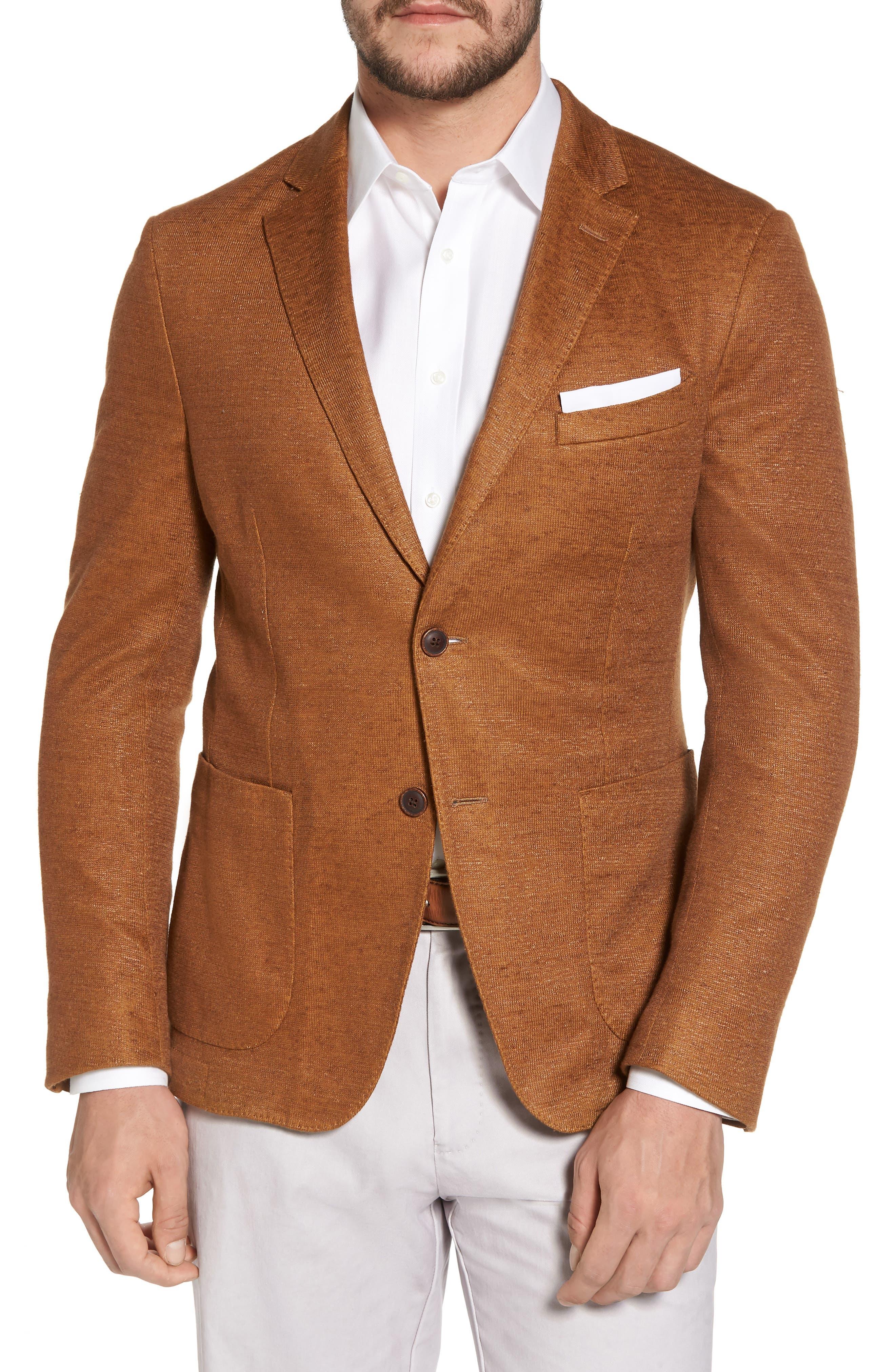 Trim Fit Heathered Jersey Blazer,                             Main thumbnail 1, color,                             Burnt Sienna