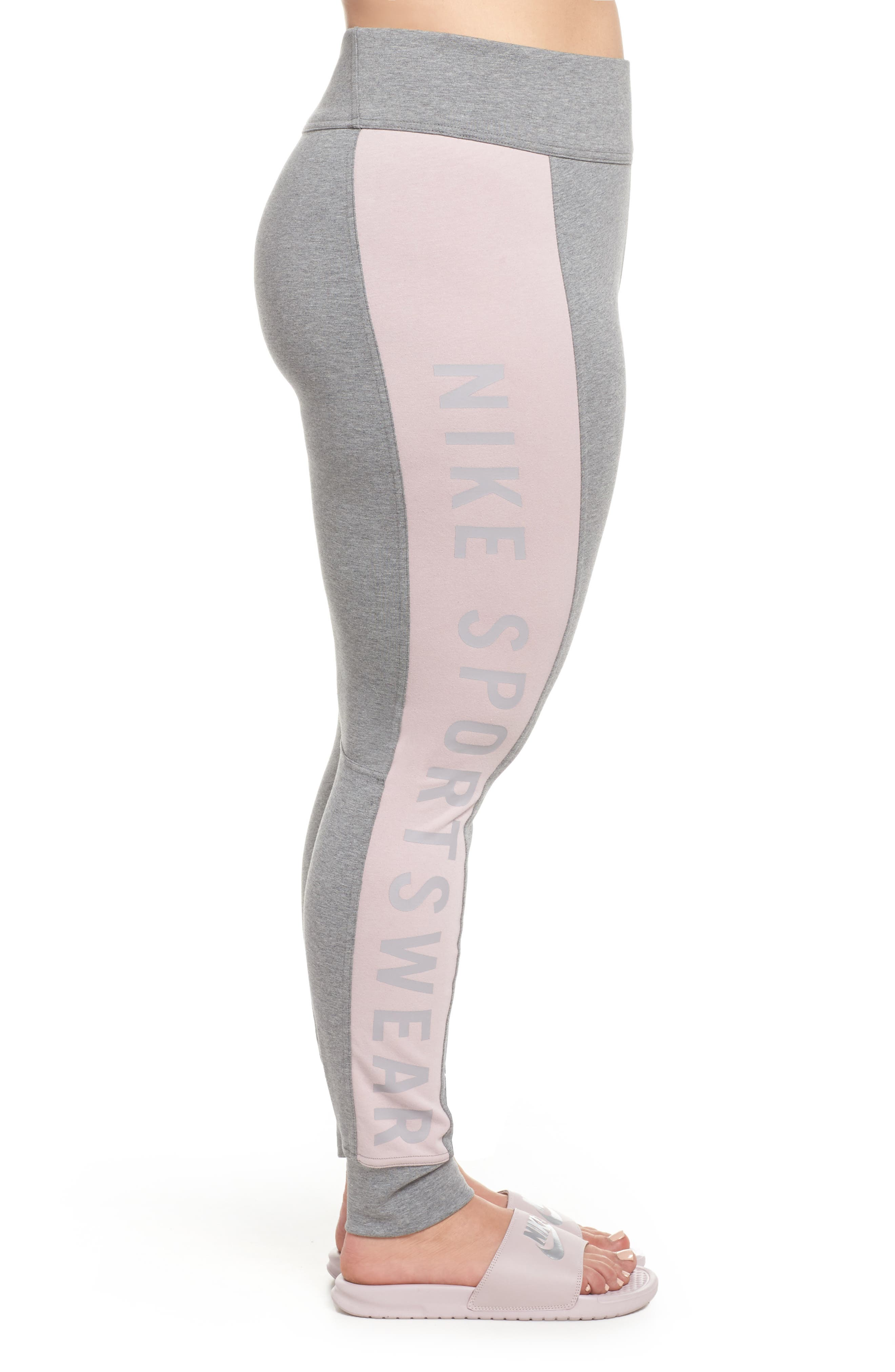 Sportswear Essential Logo Leggings,                             Alternate thumbnail 3, color,                             Carbon Heather/Particle Rose