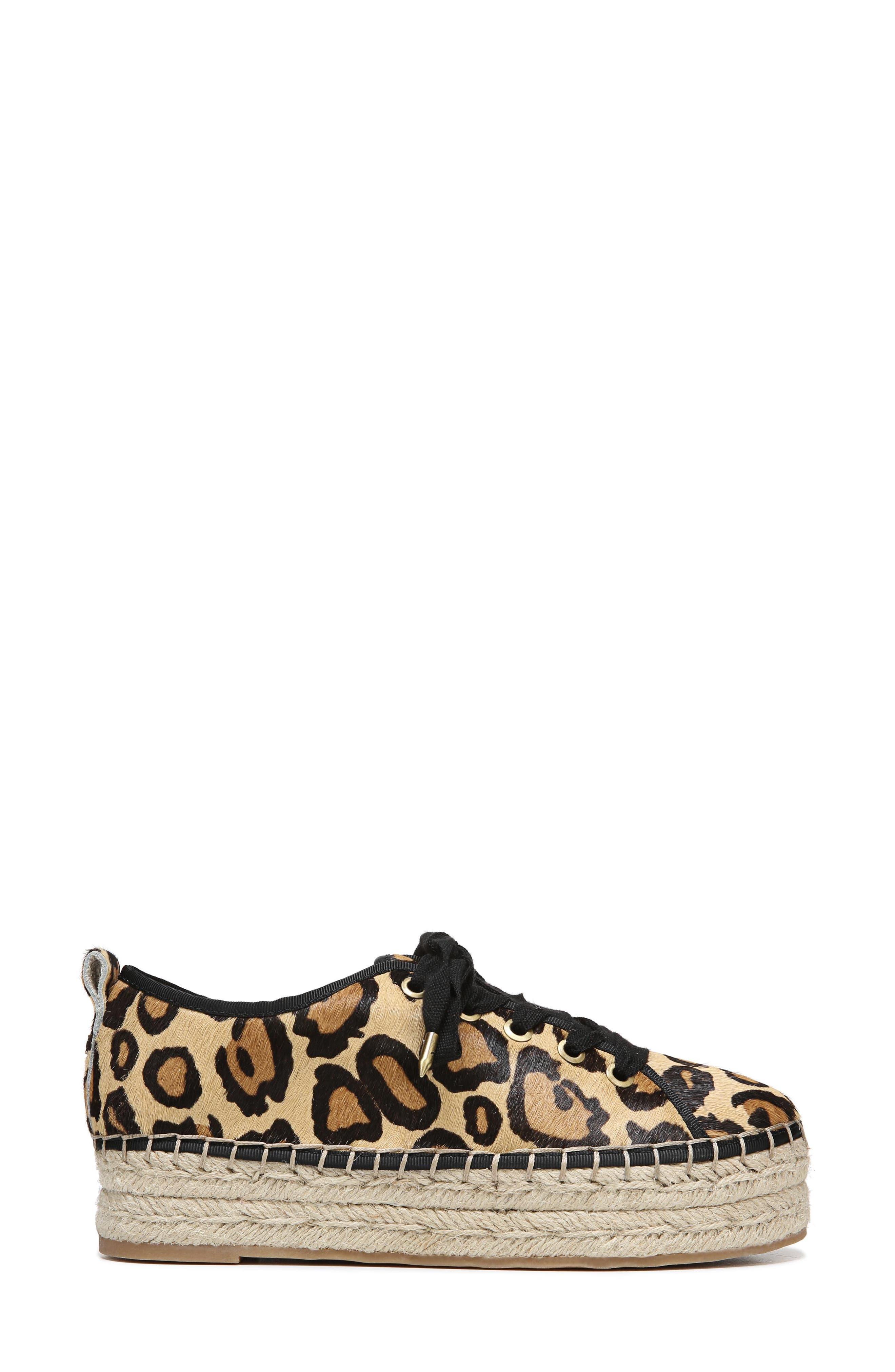 Celina Genuine Calf Hair Espadrille Flat,                             Alternate thumbnail 3, color,                             New Nude Leopard Brahma Hair