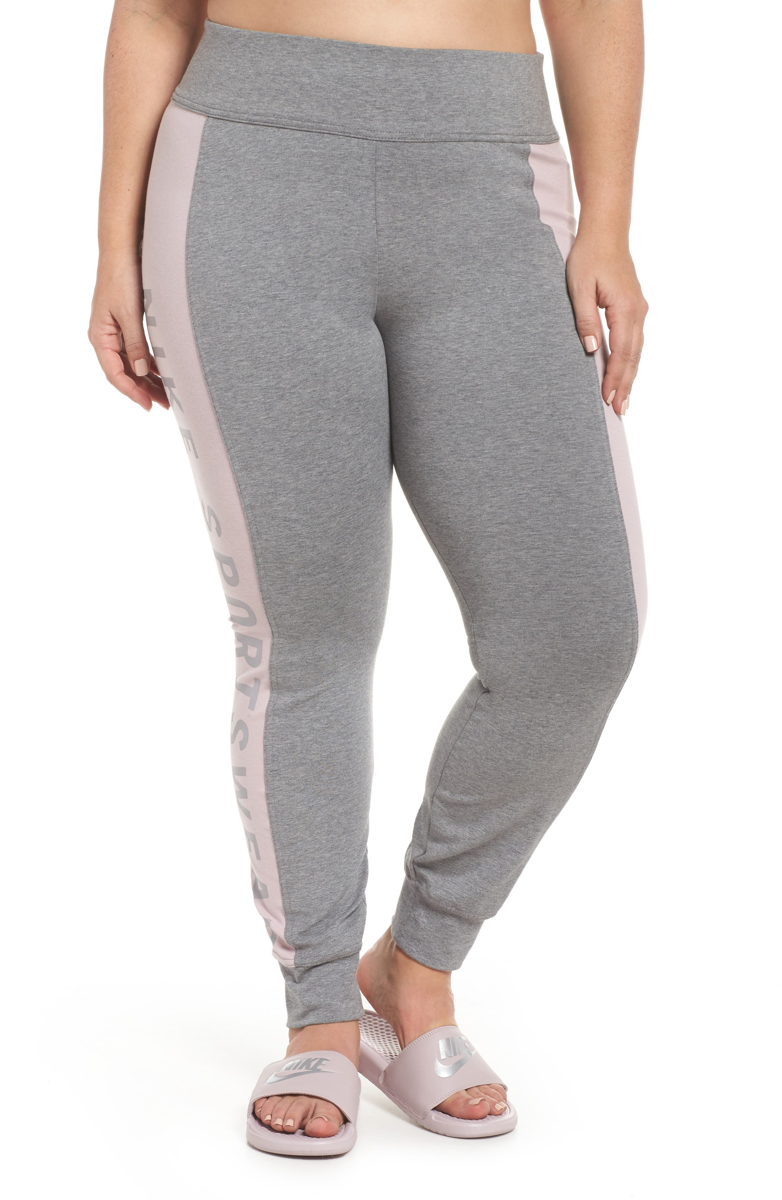 Sportswear Essential Logo Leggings,                             Main thumbnail 1, color,                             Carbon Heather/Particle Rose
