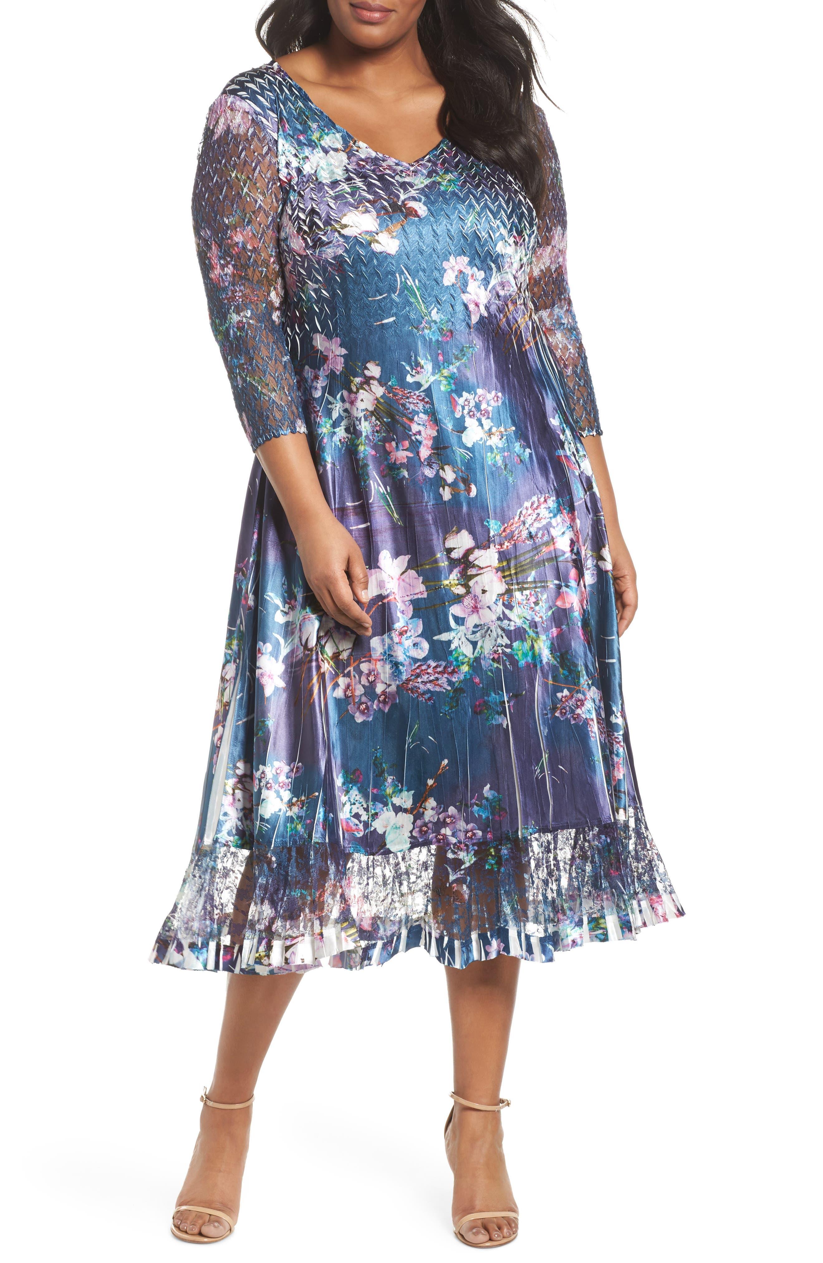 Kamarov Floral Charmeuse & Chiffon Dress,                             Main thumbnail 1, color,                             Pixel Meadow