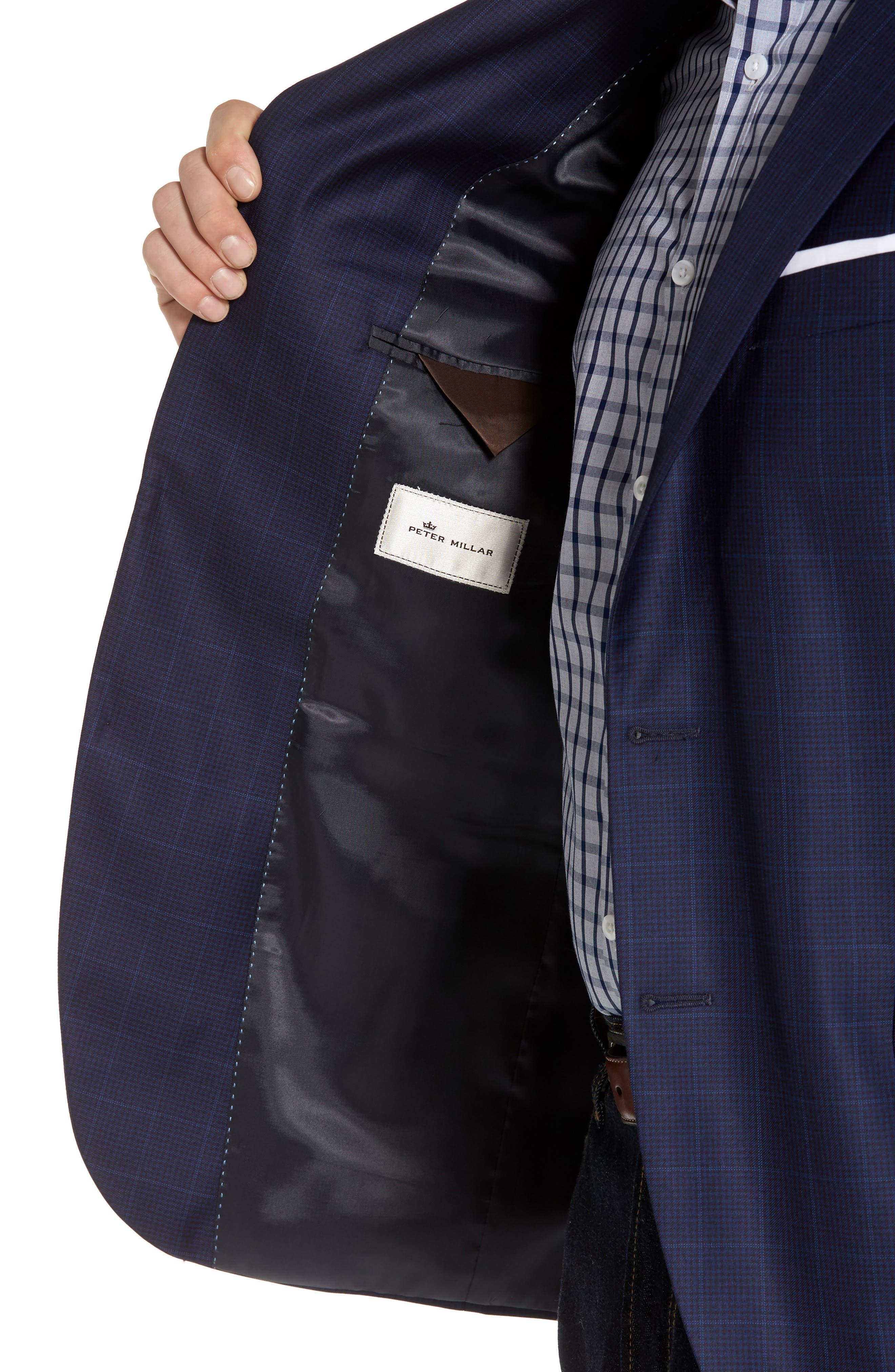 Classic Fit Windowpane Wool Sport Coat,                             Alternate thumbnail 4, color,                             Navy