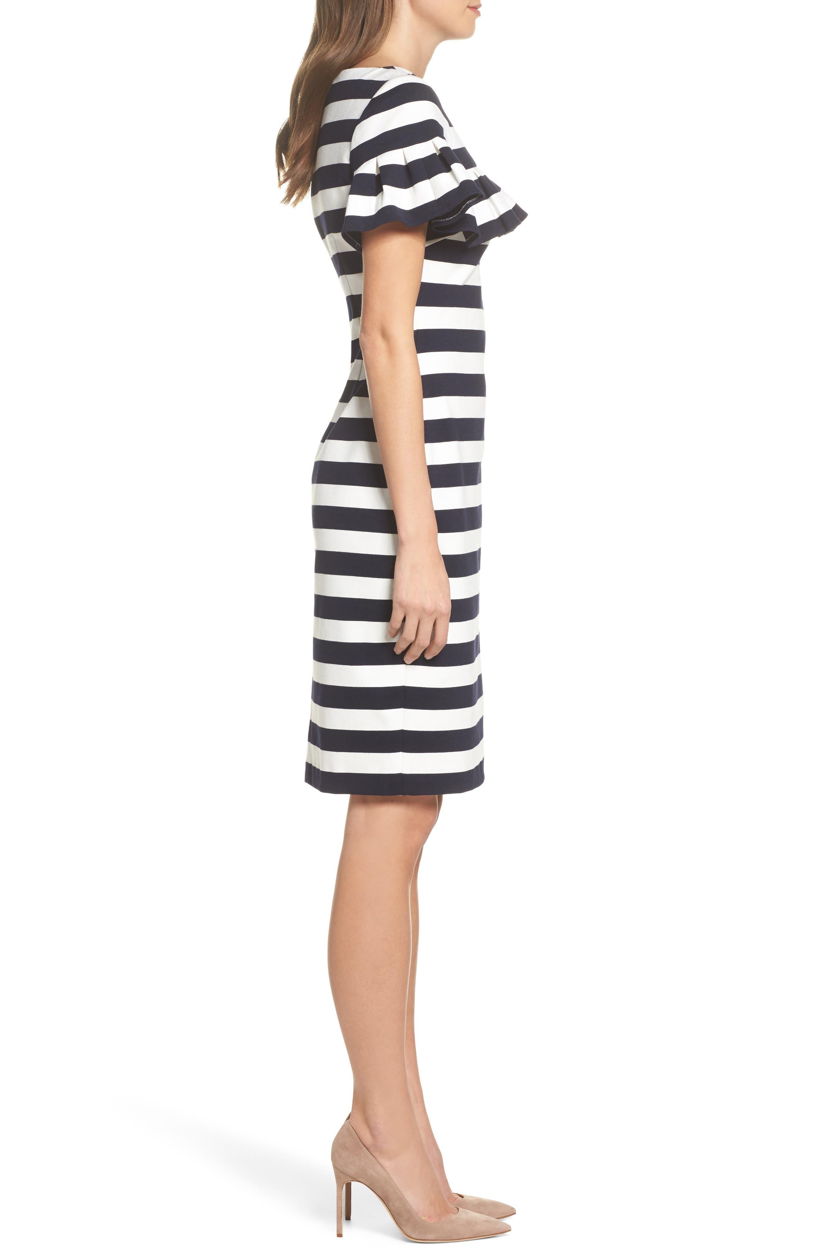 Stripe Ruffle Sheath Dress,                             Alternate thumbnail 3, color,                             Navy/ Ivory