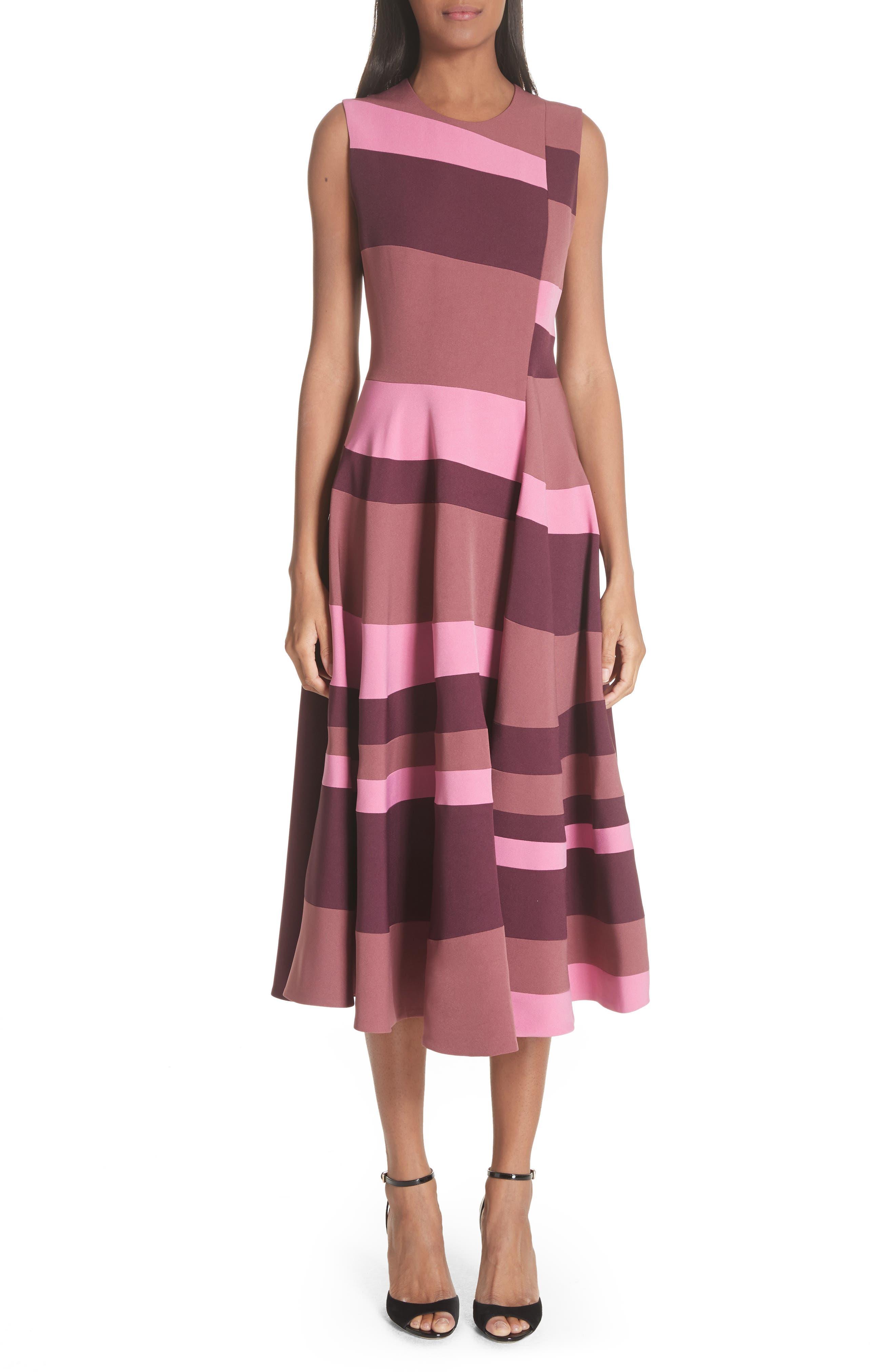 Tatum Stripe Paneled Fit & Flare Dress,                         Main,                         color, Plum/ Blossom/ Mink