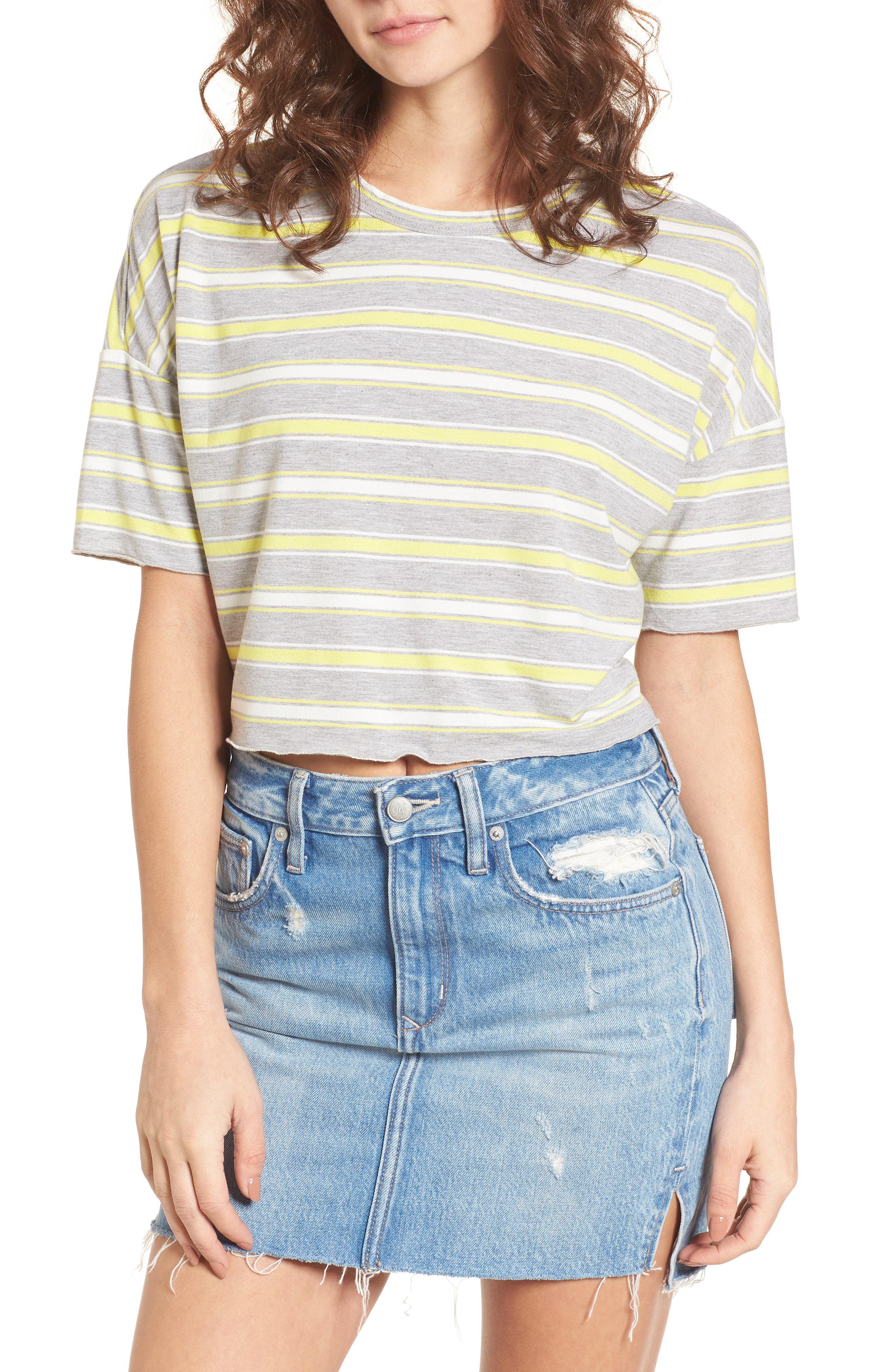 Stripe Crop Tee,                             Main thumbnail 1, color,                             Grey/ White/ Yellow