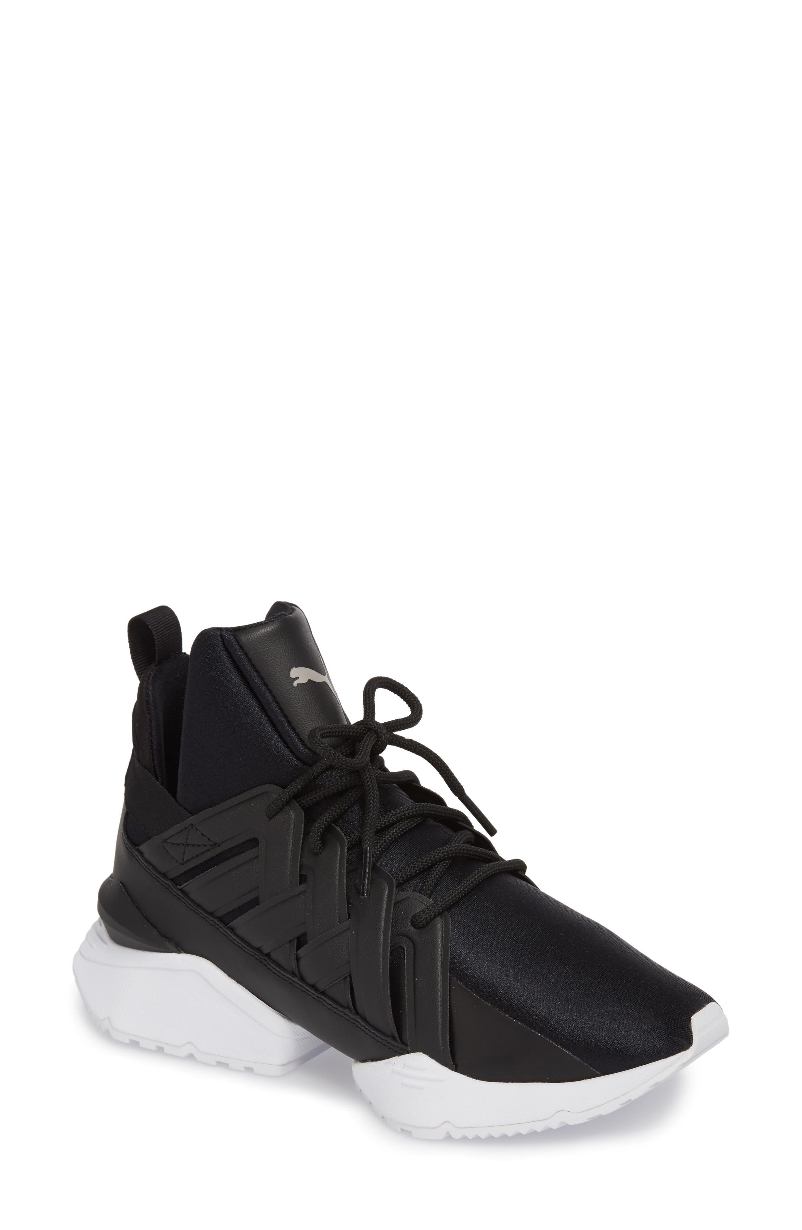 Muse Echo Satin En Pointe High Top Sneaker,                             Main thumbnail 1, color,                             Puma Black/ Puma White