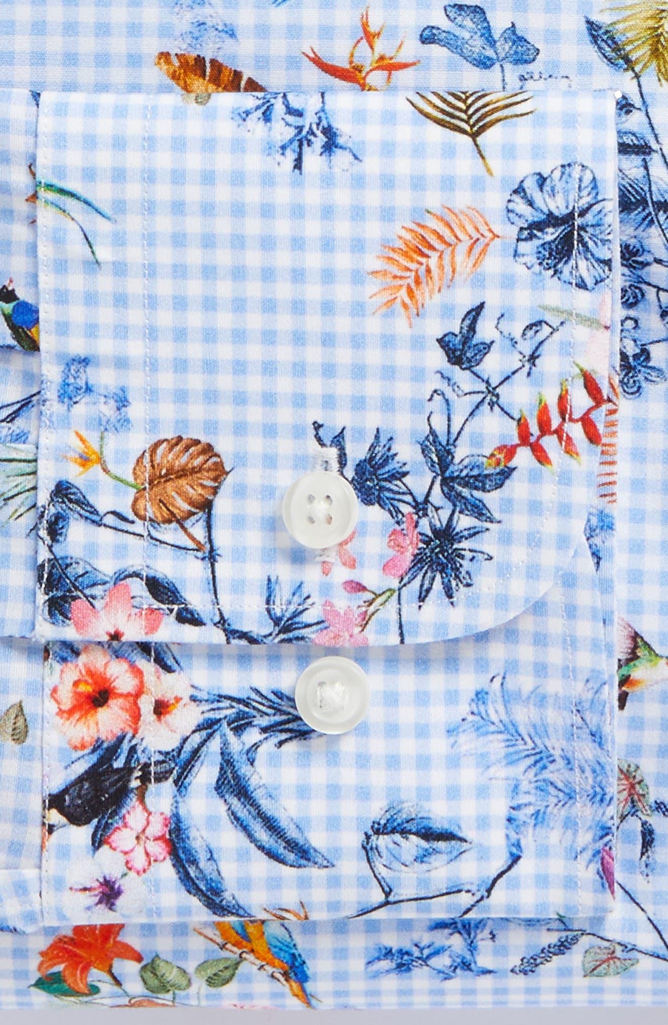 Trim Fit Floral Dress Shirt,                             Alternate thumbnail 5, color,                             Blue Cornflower