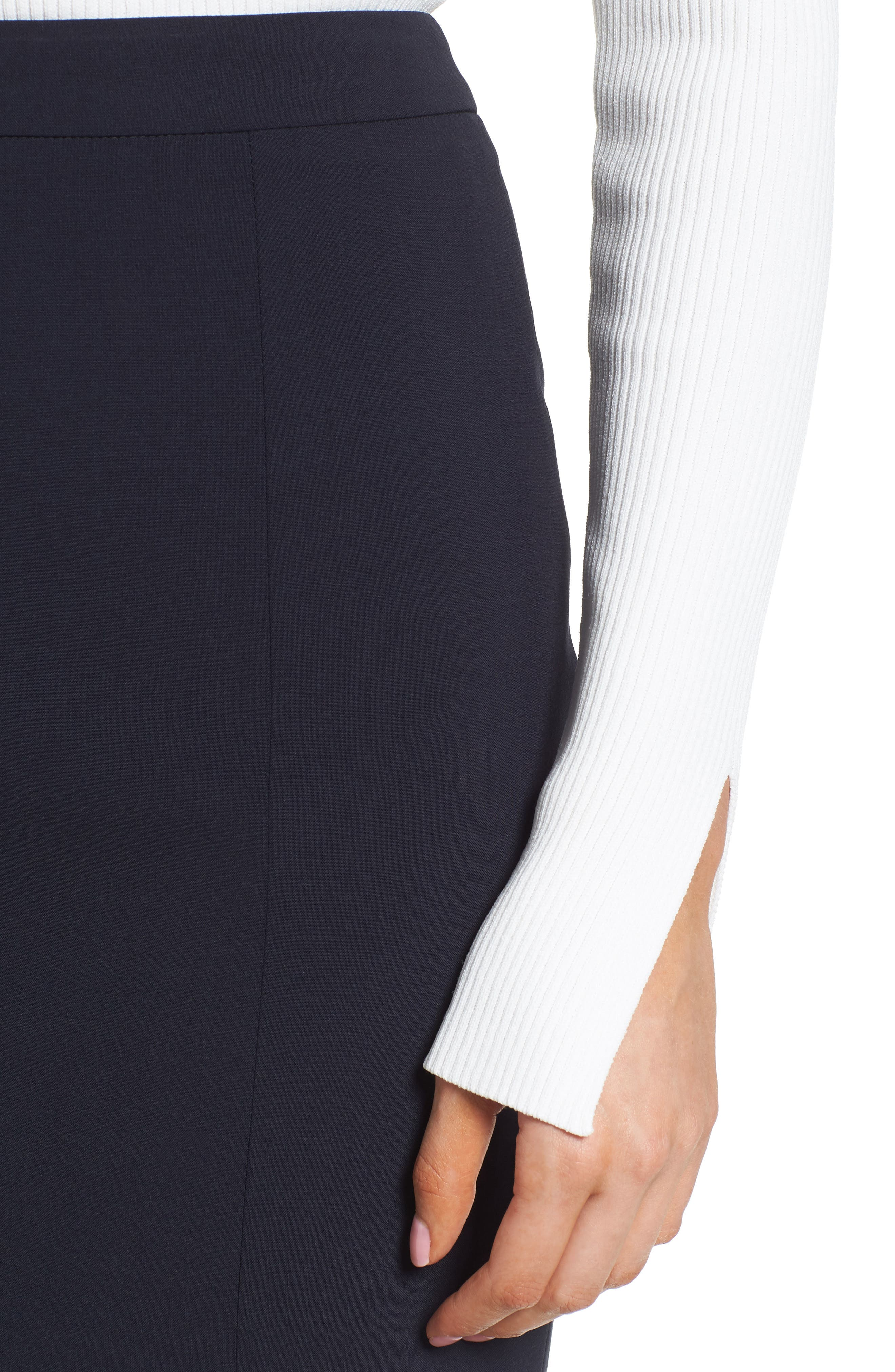 Volania Stretch Wool Side Slit Pencil Skirt,                             Alternate thumbnail 4, color,                             Navy