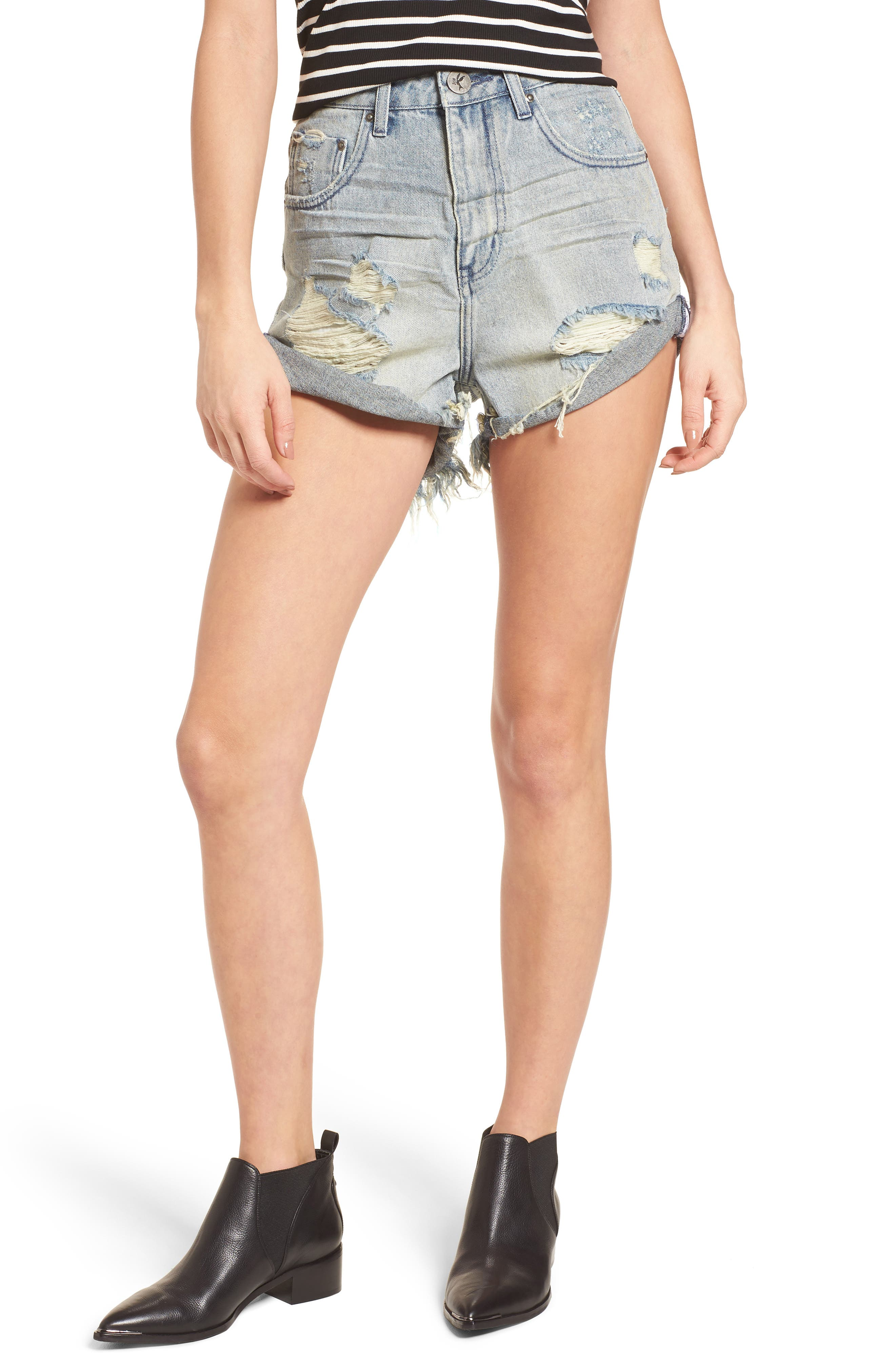 One Teaspoon Bandit Ripped High Waist Jean Shorts (Blue Storm)