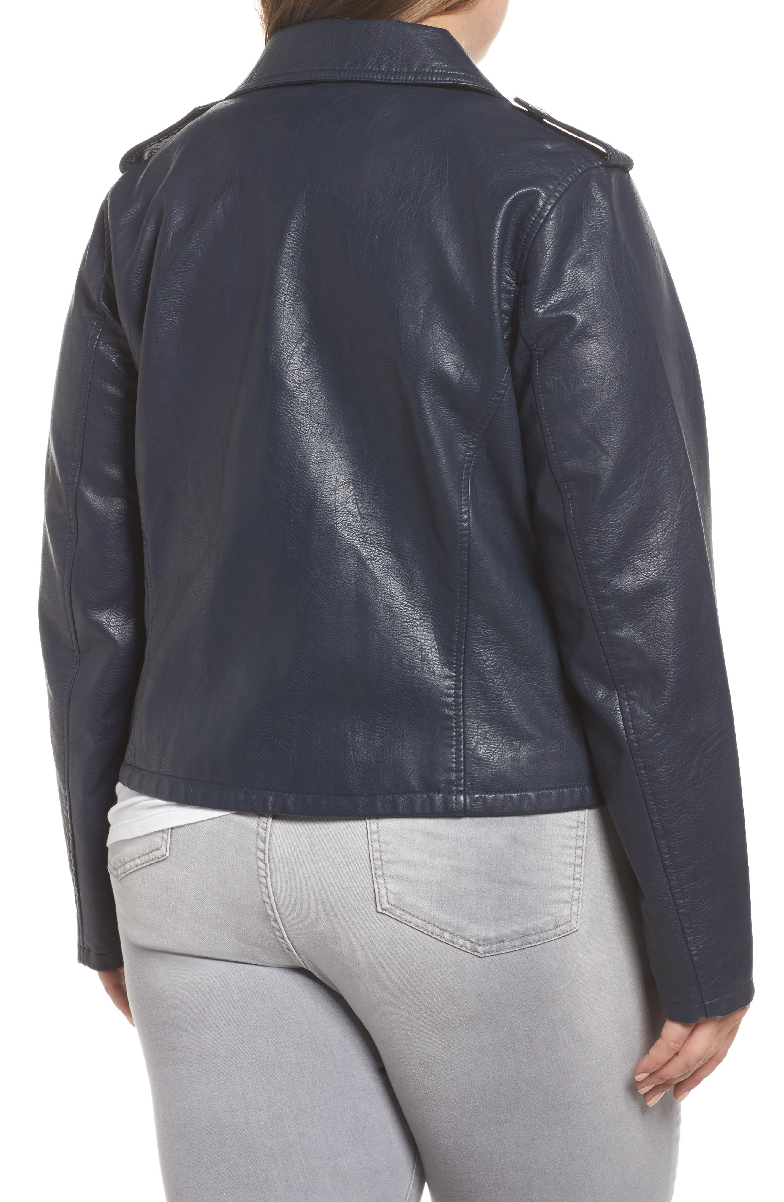 Faux Leather Jacket,                             Alternate thumbnail 2, color,                             Navy