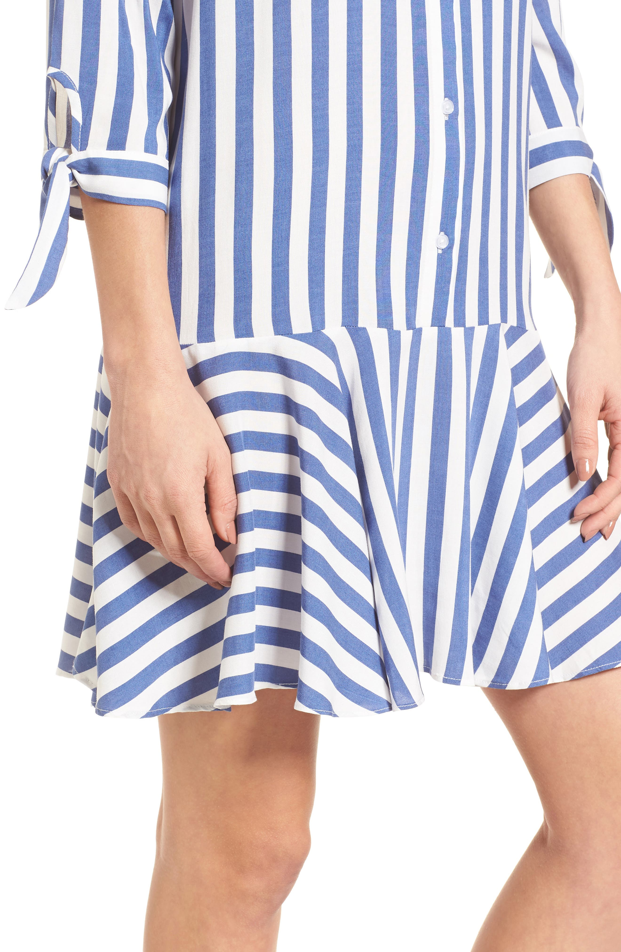 Drop Waist Shirtdress,                             Alternate thumbnail 4, color,                             Blue/ White
