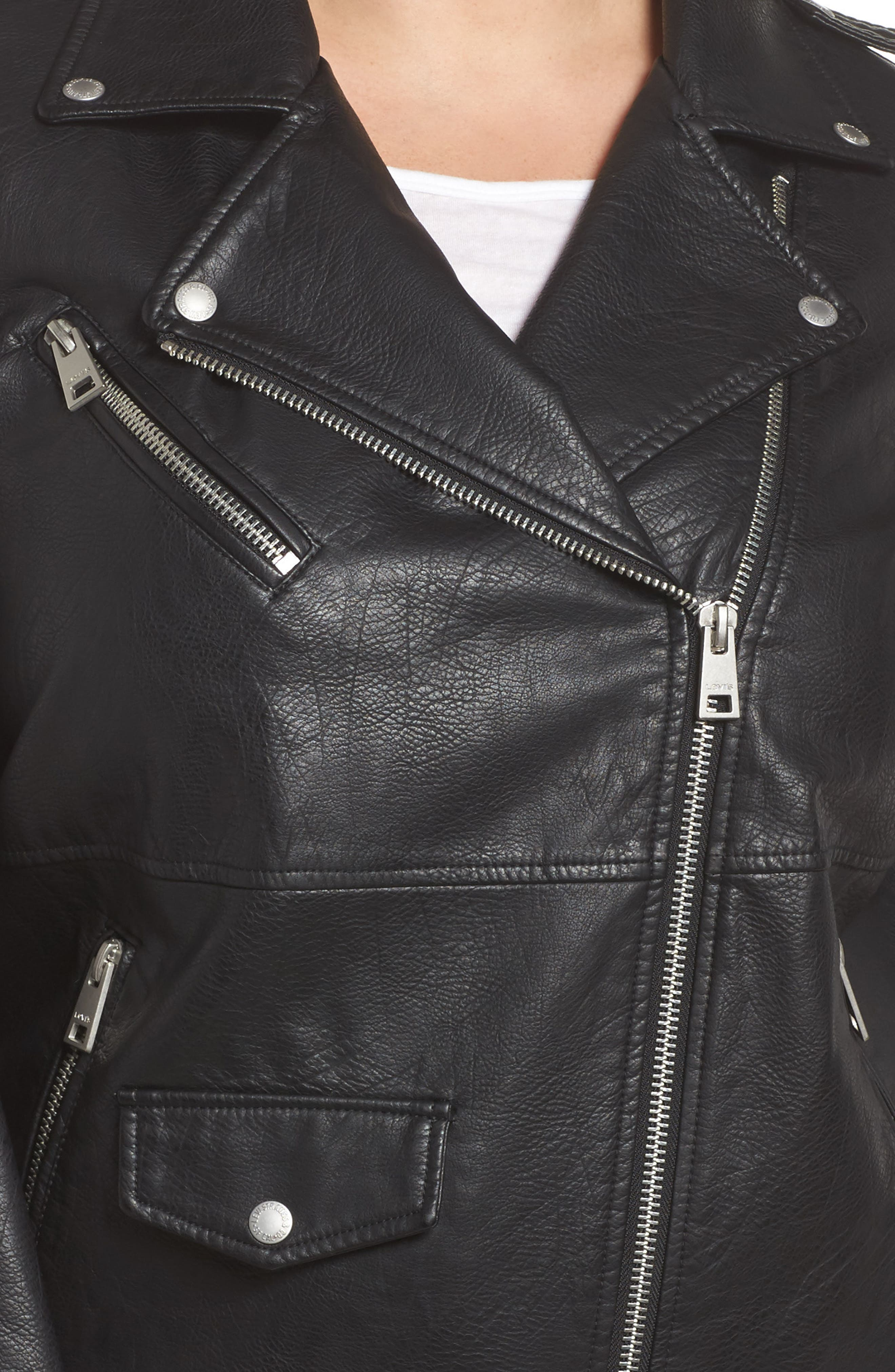 Oversize Faux Leather Moto Jacket,                             Alternate thumbnail 4, color,                             Black