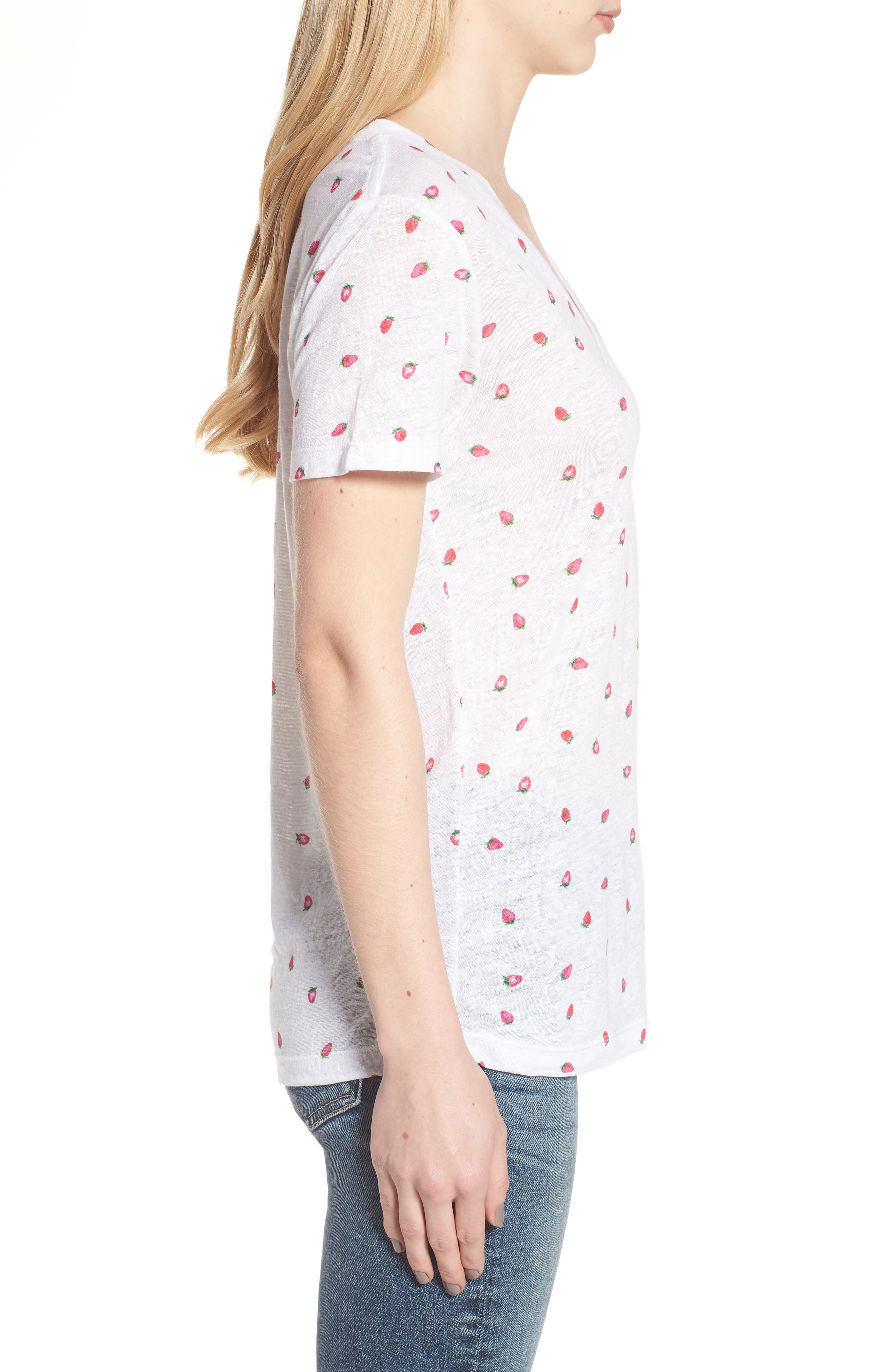 Cara Strawberry Tee,                             Alternate thumbnail 3, color,                             Strawberries