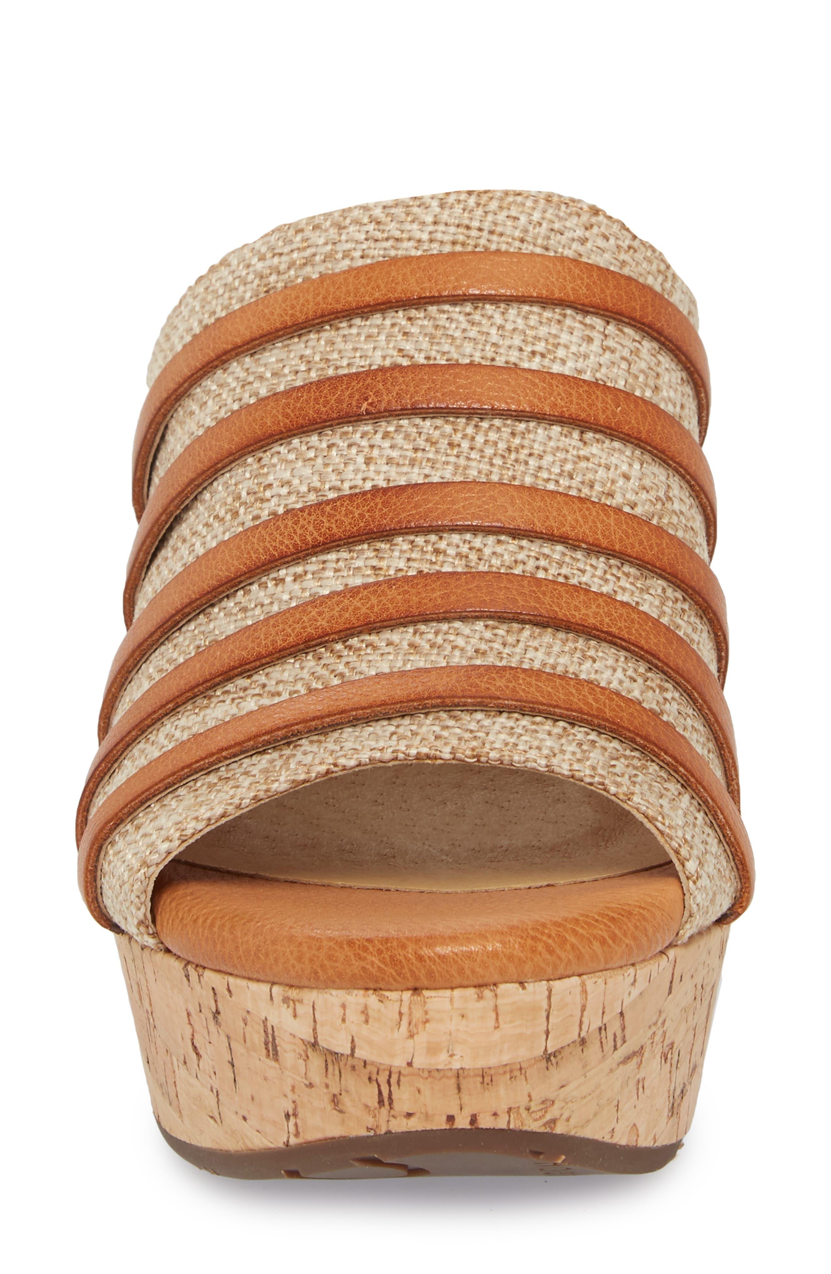 Wapi Wedge Sandal,                             Alternate thumbnail 4, color,                             Camel Leather