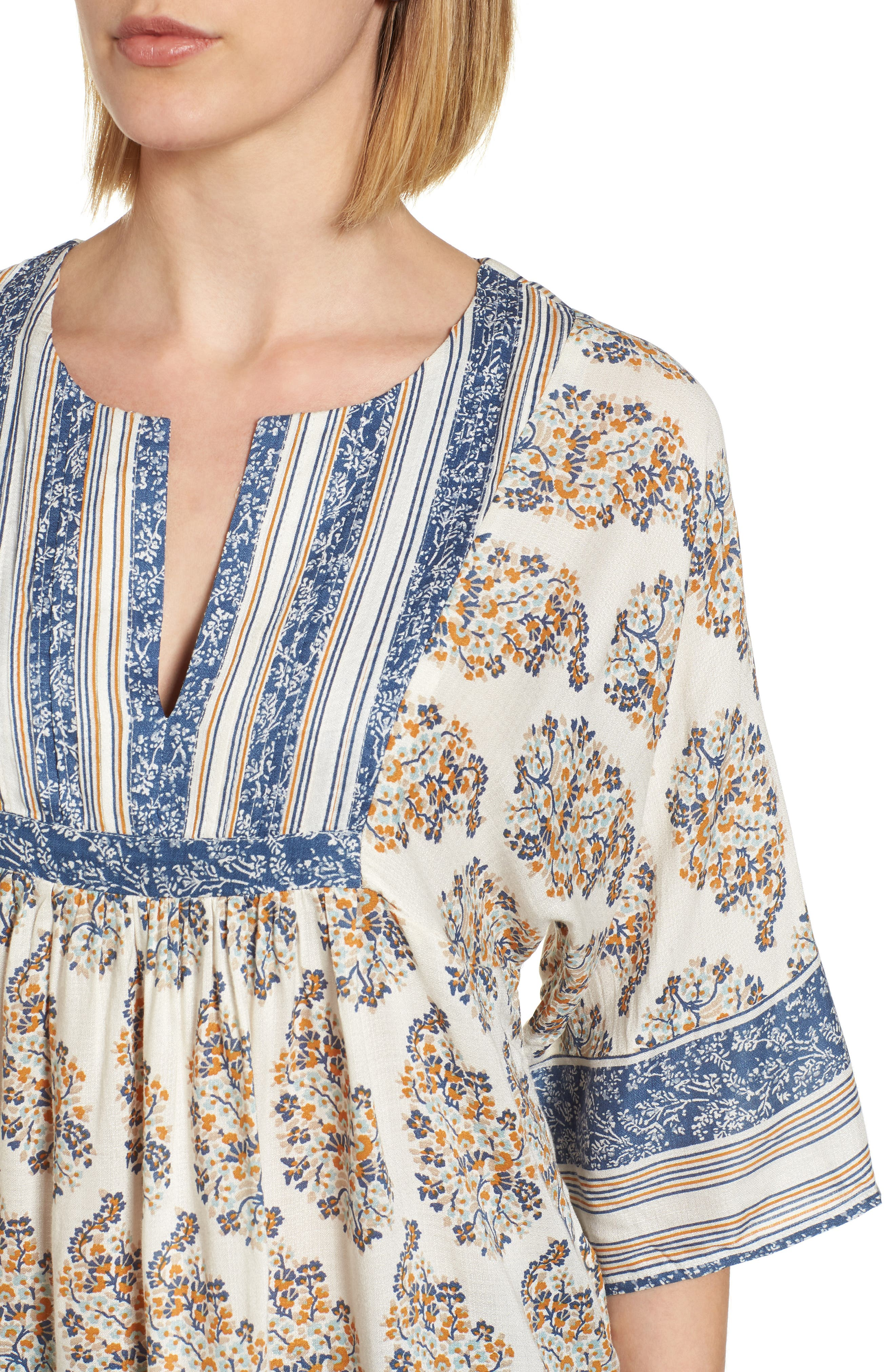 Alternate Image 4  - Lucky Brand Mixed Print Peasant Top