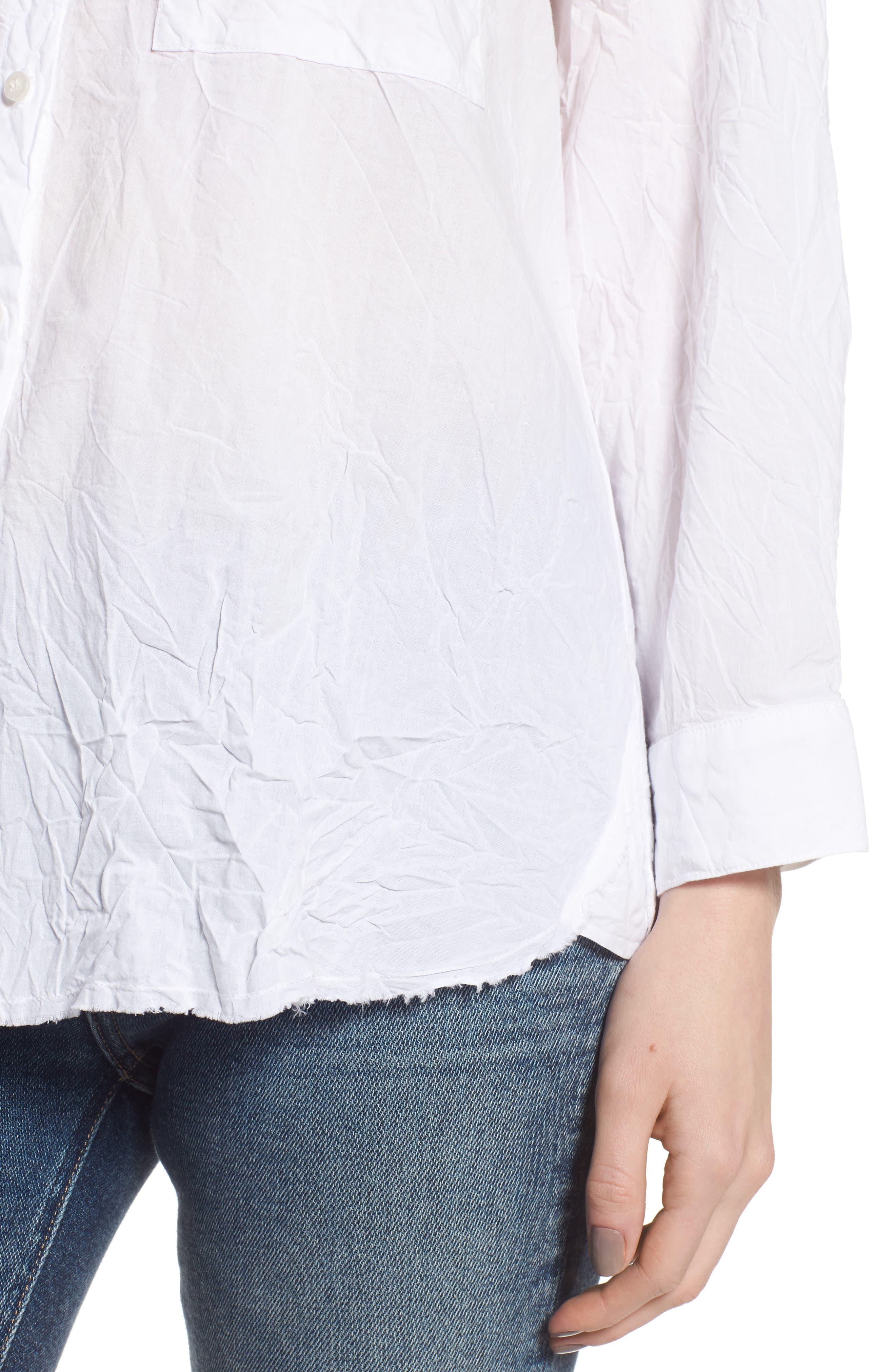 Oversize Button Front Shirt,                             Alternate thumbnail 4, color,                             White