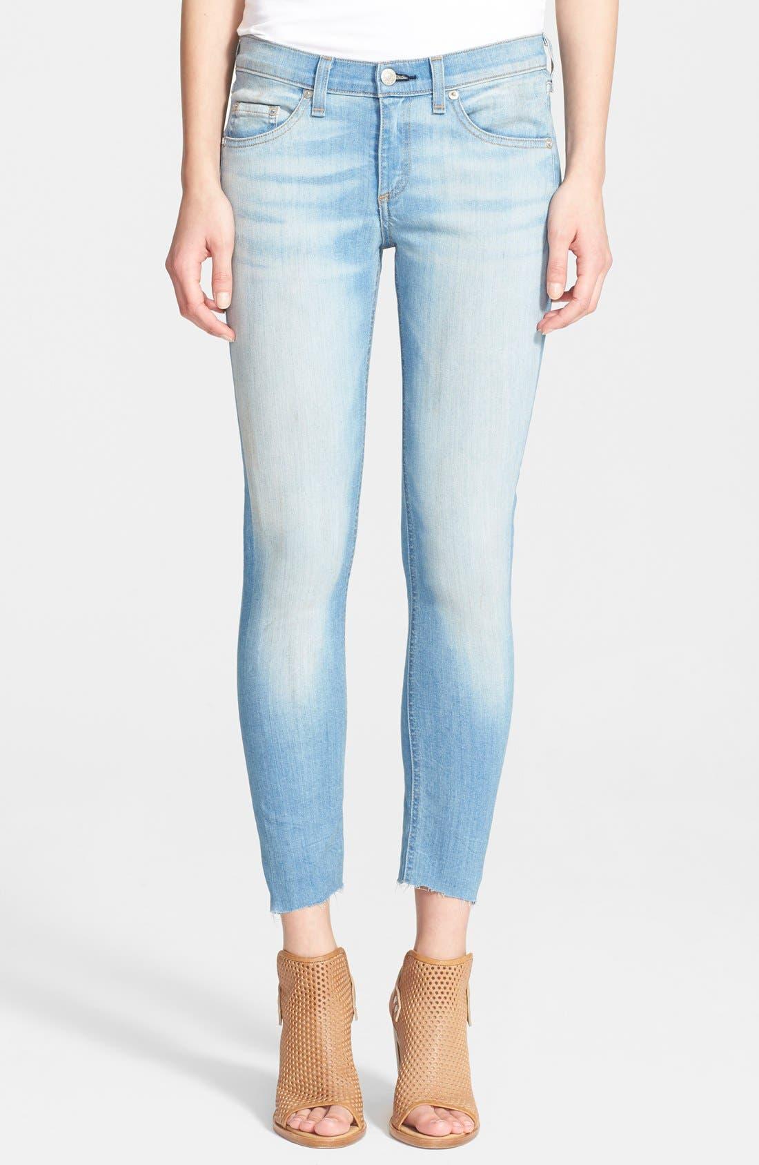 Alternate Image 1 Selected - rag & bone/JEAN Low Rise Crop Skinny Jeans