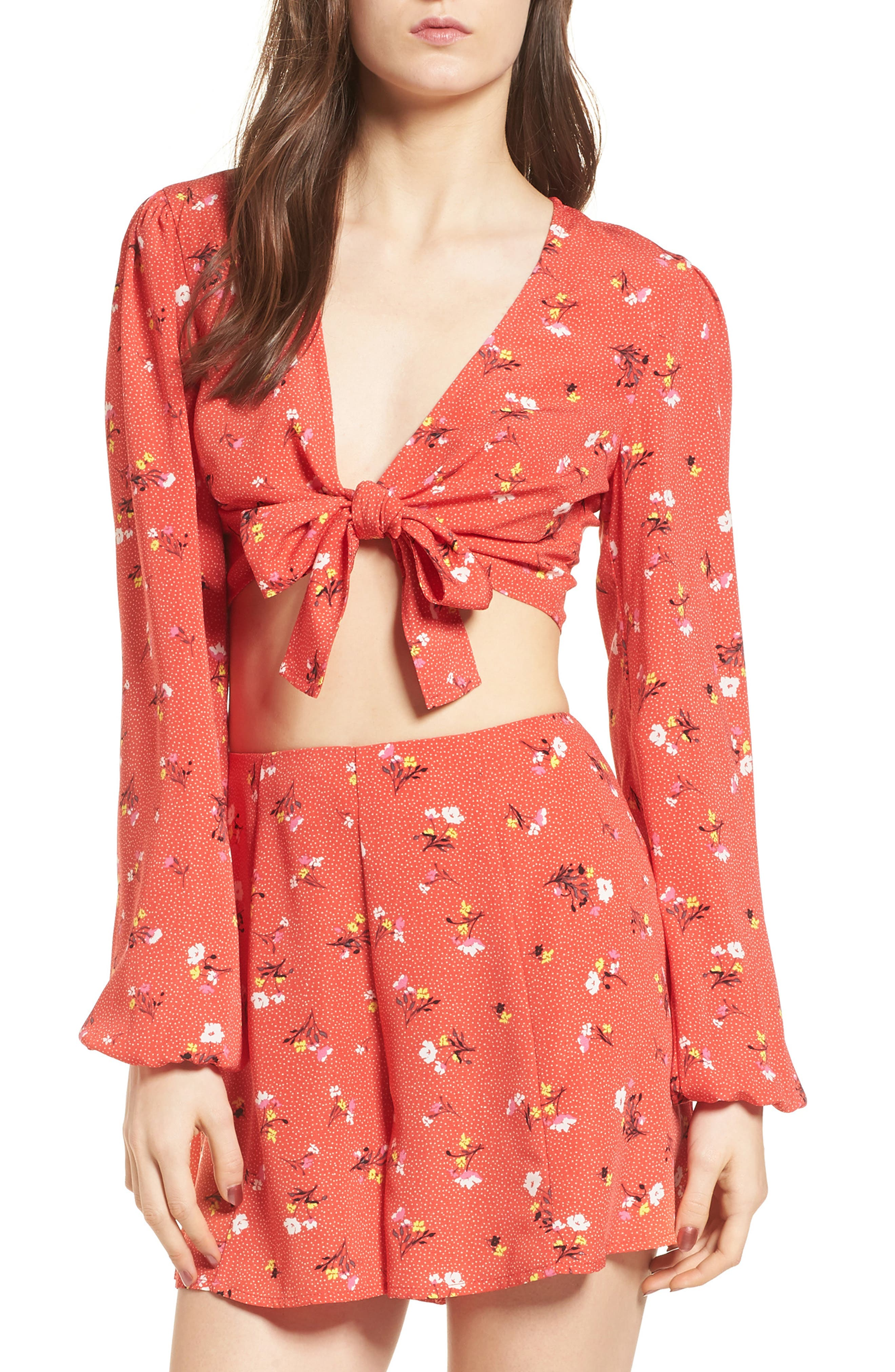 Tie Front Crop Top,                             Main thumbnail 1, color,                             Red Dot Floral