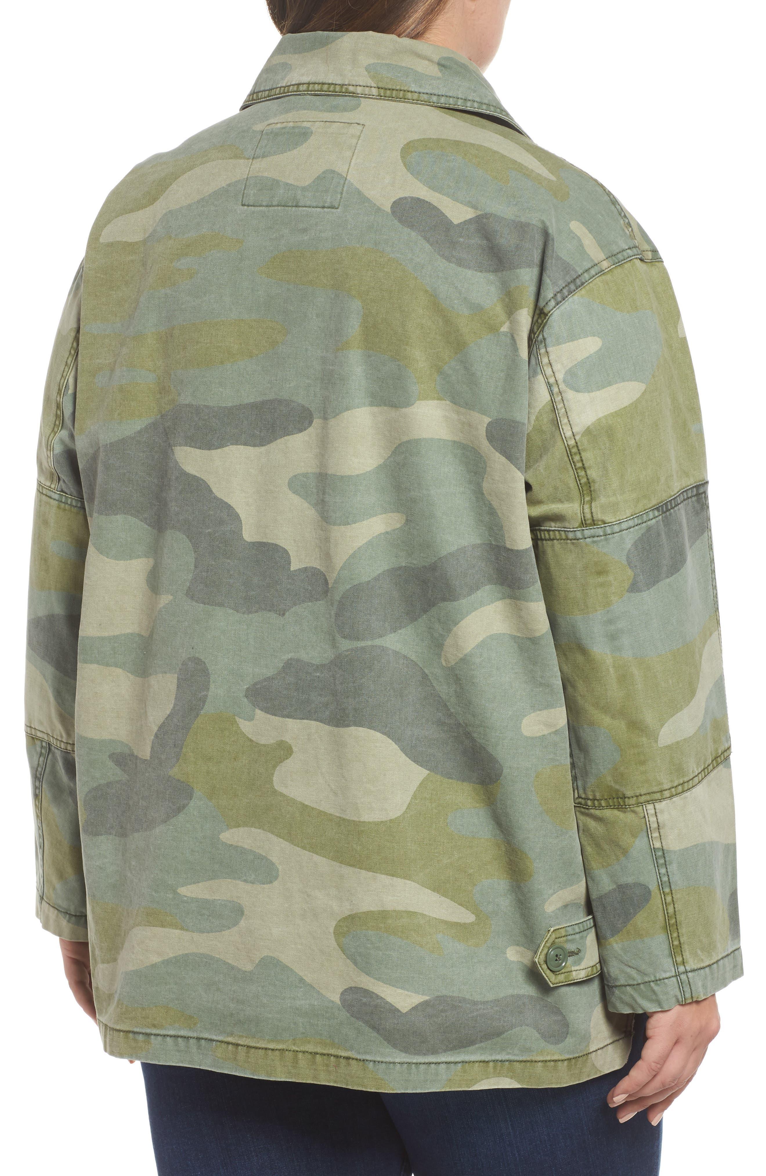 High/Low Shirt Jacket,                             Alternate thumbnail 2, color,                             Light Green Camo