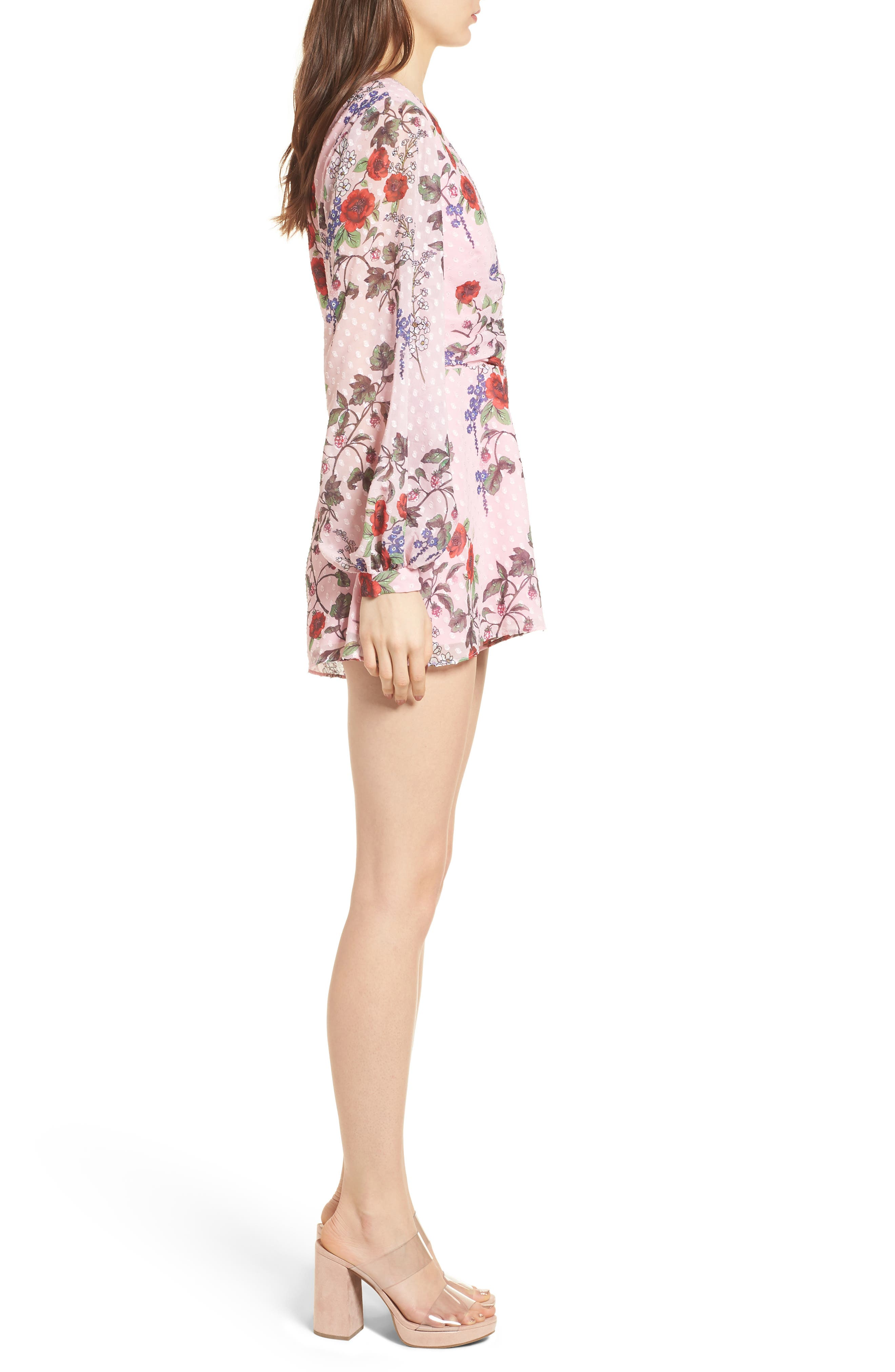 Need You Now Romper,                             Alternate thumbnail 4, color,                             Powder Pink Floral